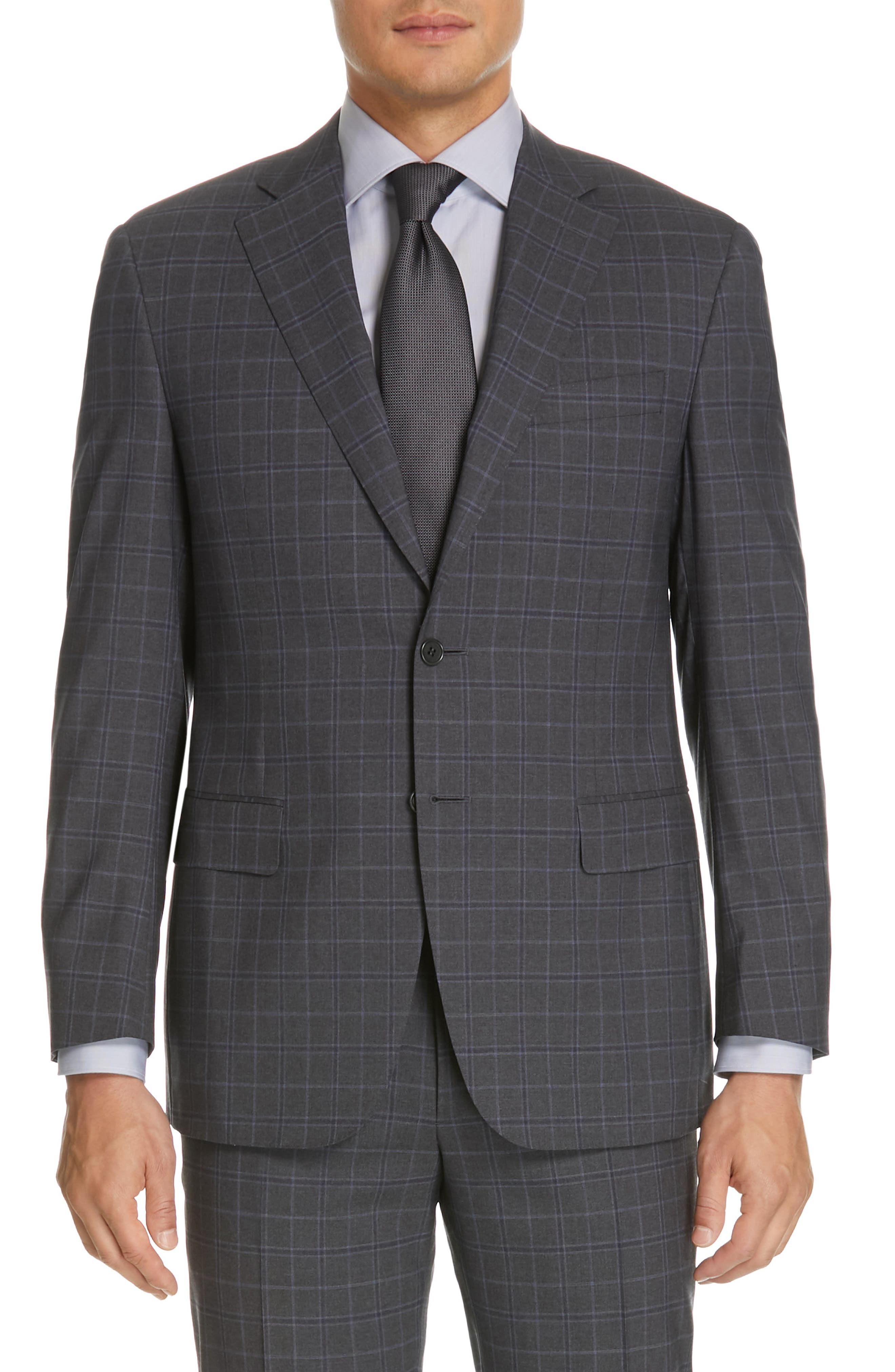 CANALI, Sienna Classic Fit Plaid Wool Suit, Alternate thumbnail 5, color, CHARCOAL