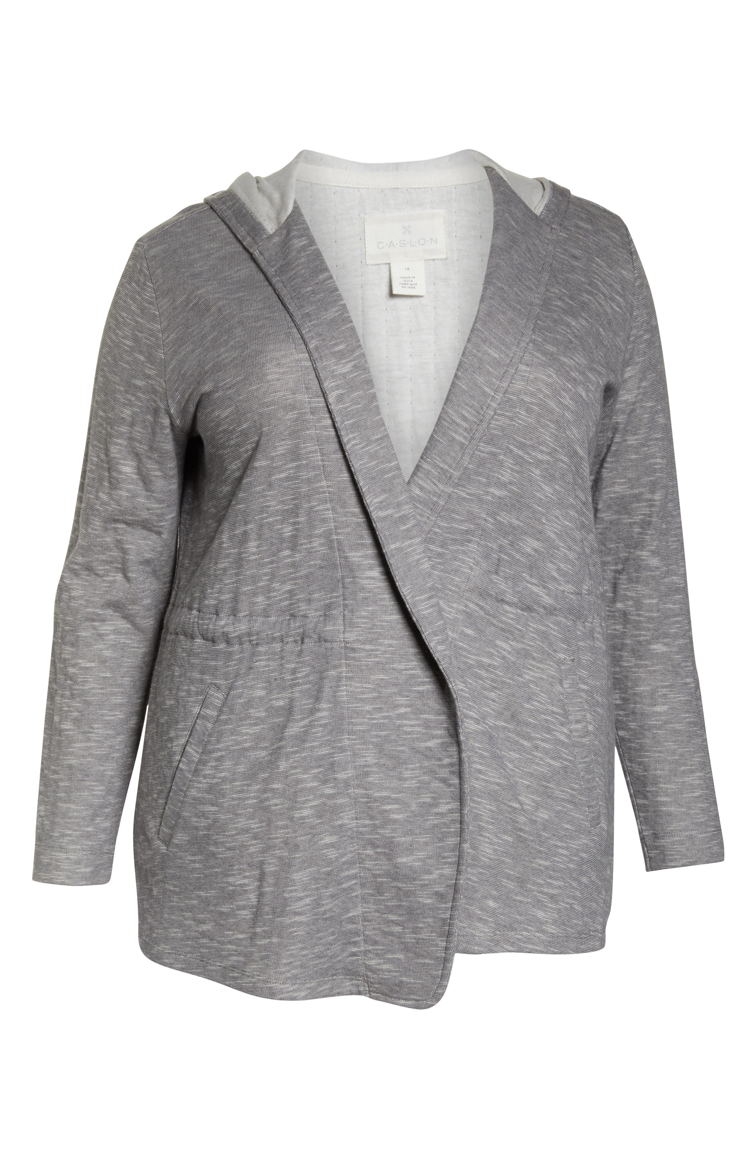 CASLON<SUP>®</SUP>, Open Front Hooded Cardigan, Alternate thumbnail 6, color, 030