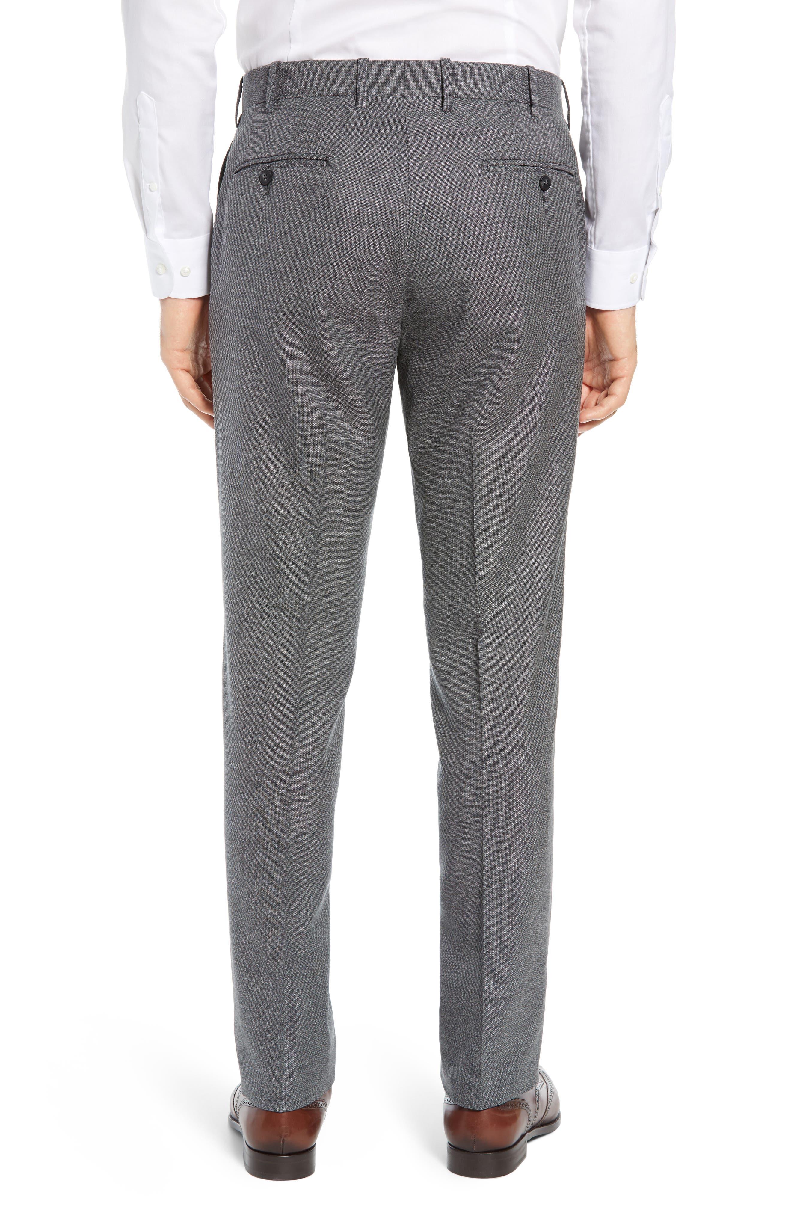 JOHN W. NORDSTROM<SUP>®</SUP>, Torino Flat Front Solid Wool Trousers, Alternate thumbnail 2, color, GREY PHANTOM BASKET WEAVE