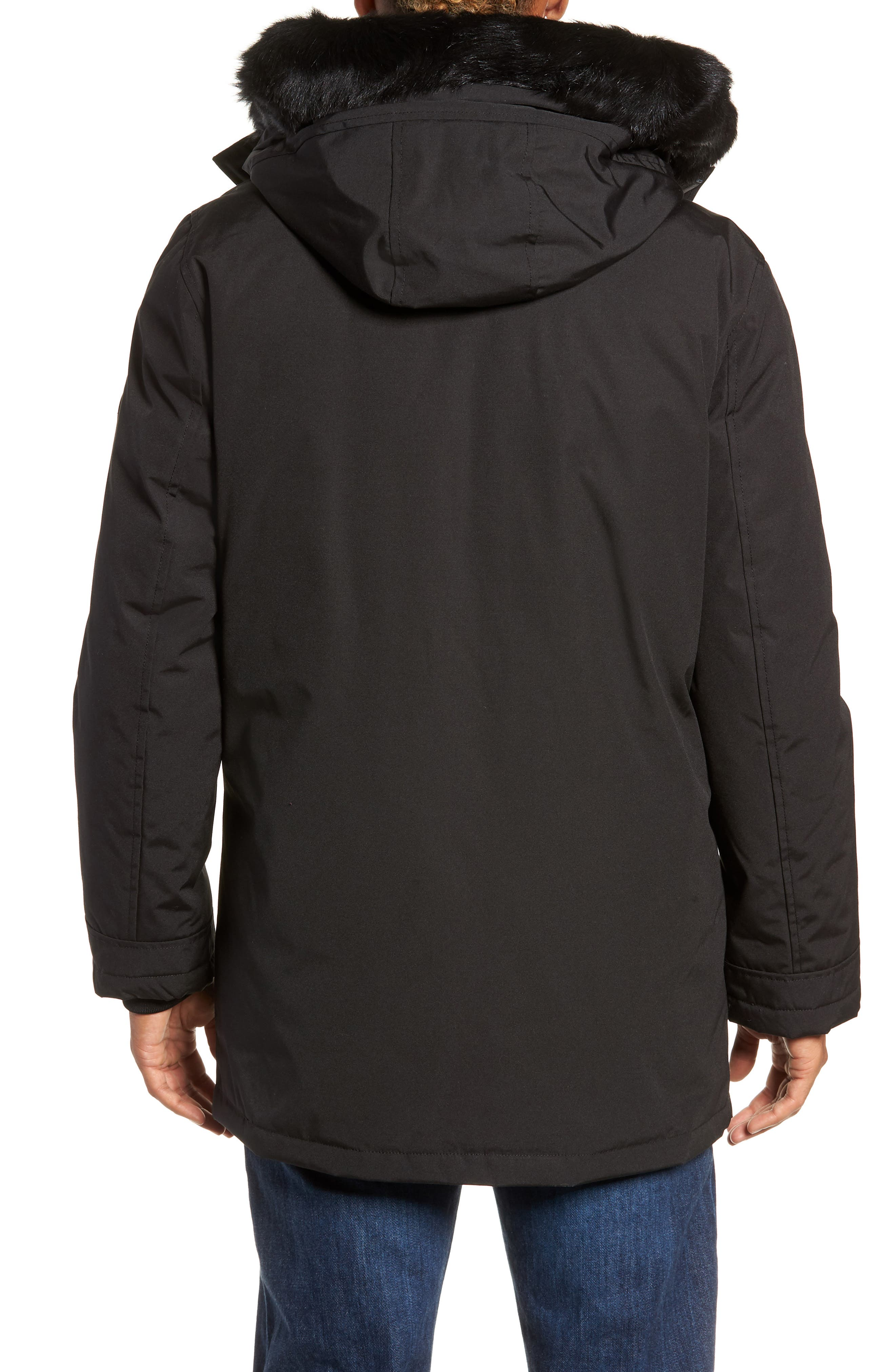 UGG<SUP>®</SUP>, Butte Water-Resistant Down Parka with Genuine Shearling Trim, Alternate thumbnail 4, color, 001