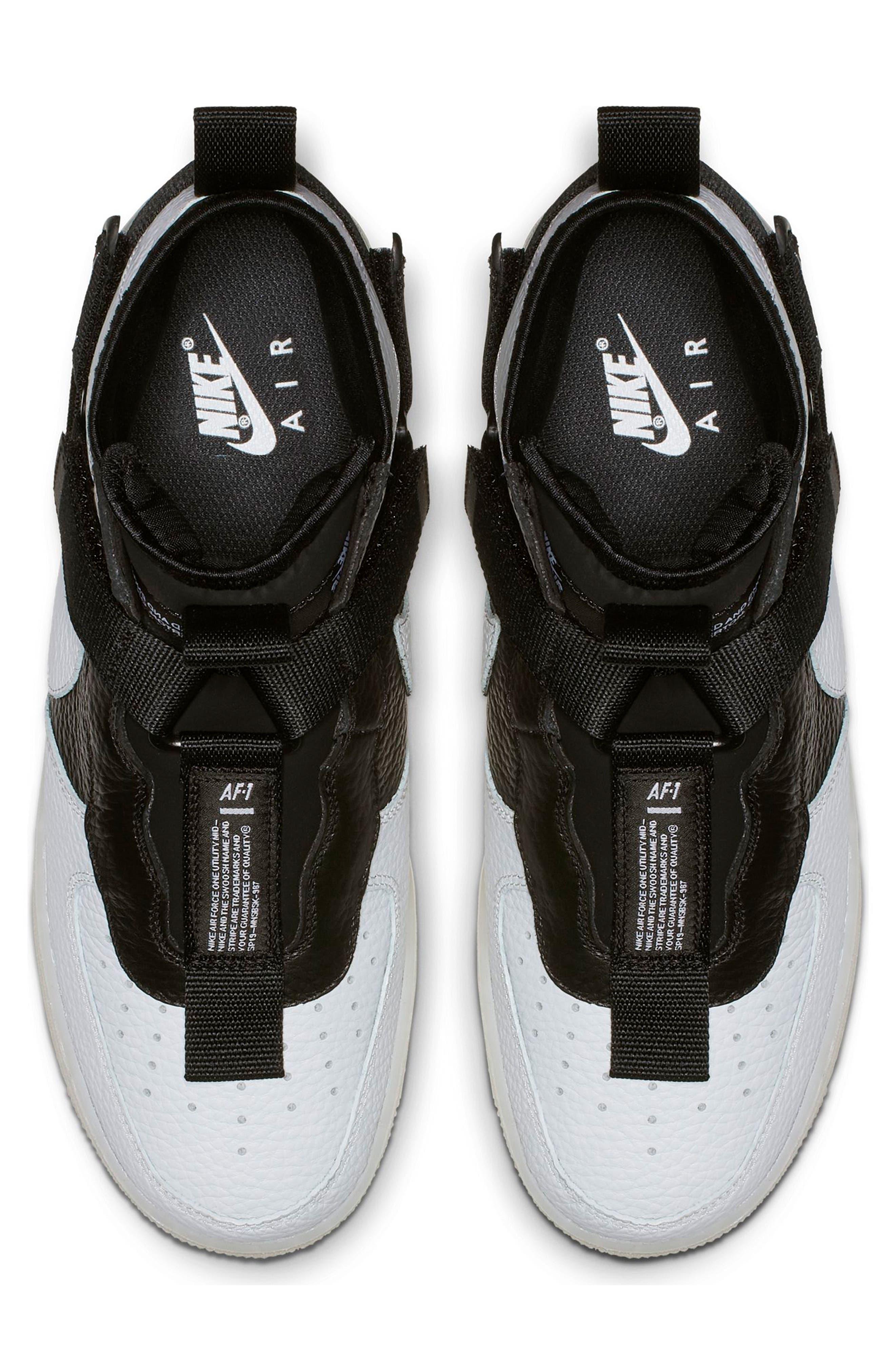 NIKE, Air Force 1 Utility Mid Sneaker, Alternate thumbnail 4, color, OFF WHITE/ BLACK/ WHITE