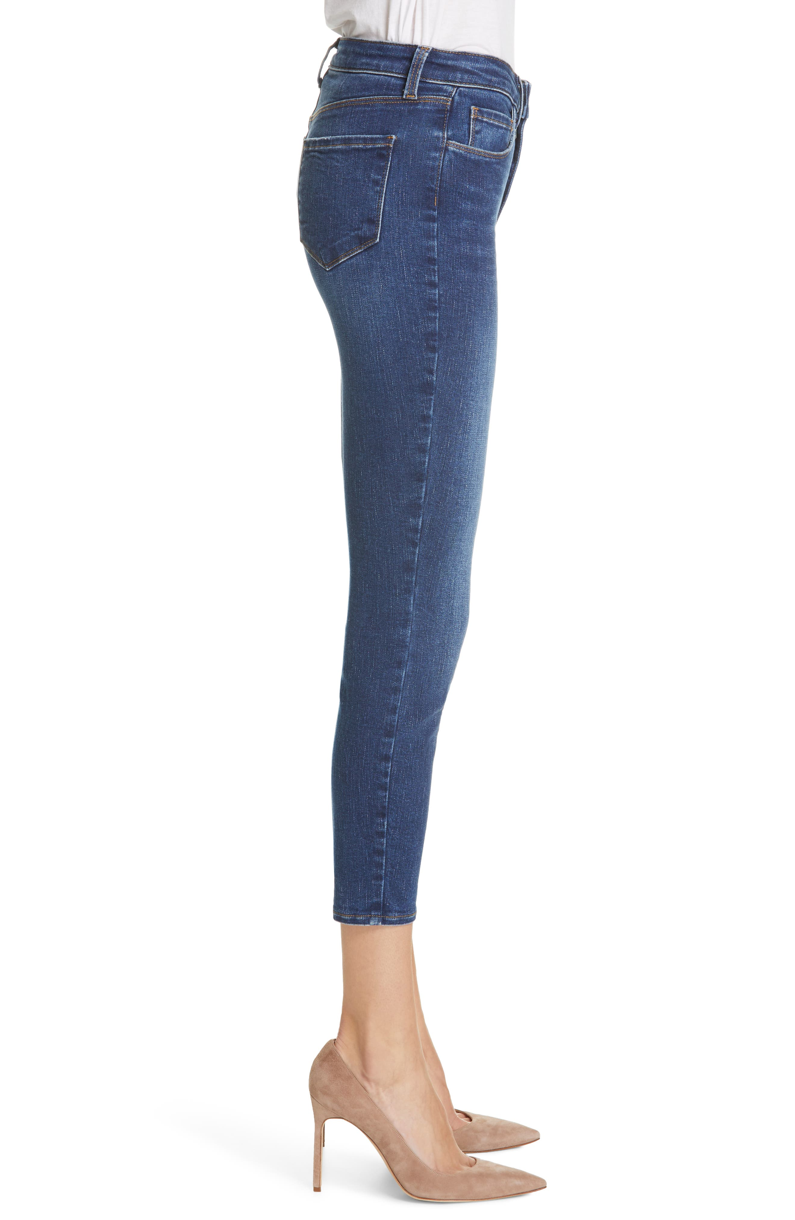 L'AGENCE, Margot Crop Skinny Jeans, Alternate thumbnail 4, color, TUSCAN