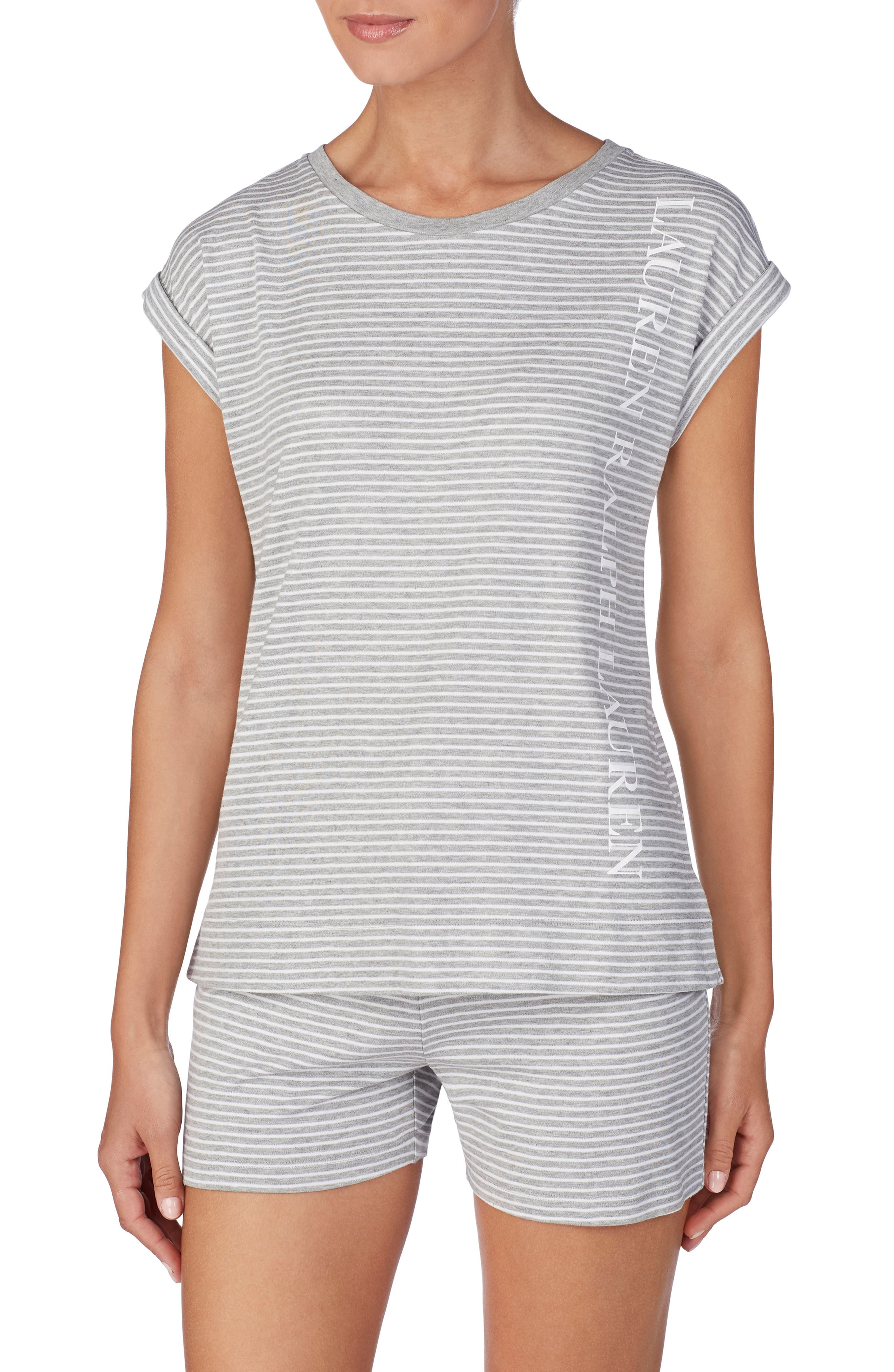 LAUREN RALPH LAUREN Knit Pajama Top, Main, color, GREY STRIPE