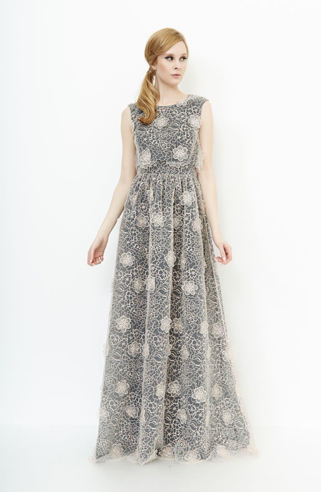 ERIN ERIN FETHERSTON, 'Jan' 3D Floral Organza Gown, Alternate thumbnail 4, color, 687