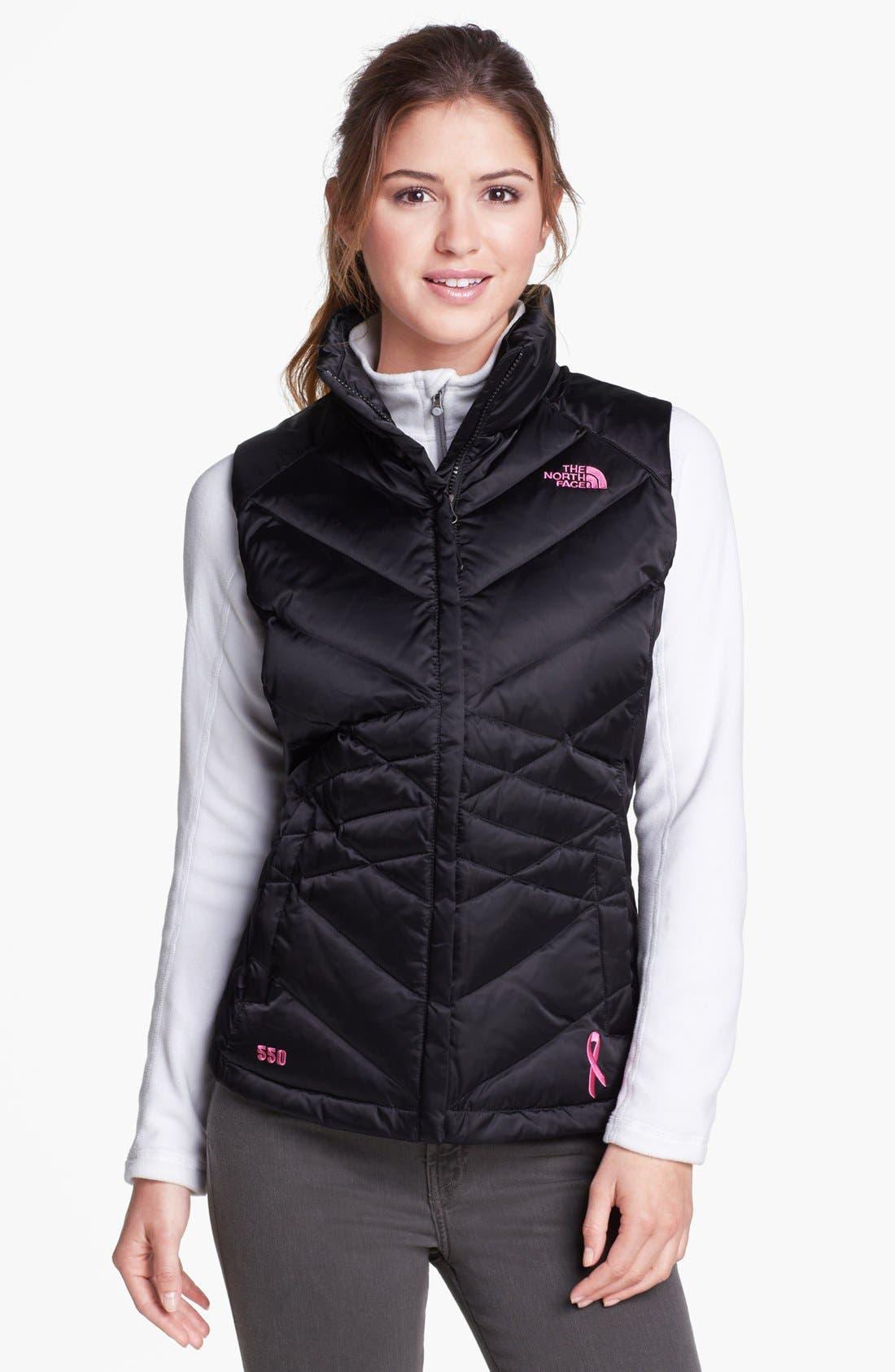 THE NORTH FACE 'Aconcagua - Pink Ribbon' Down Vest, Main, color, 001