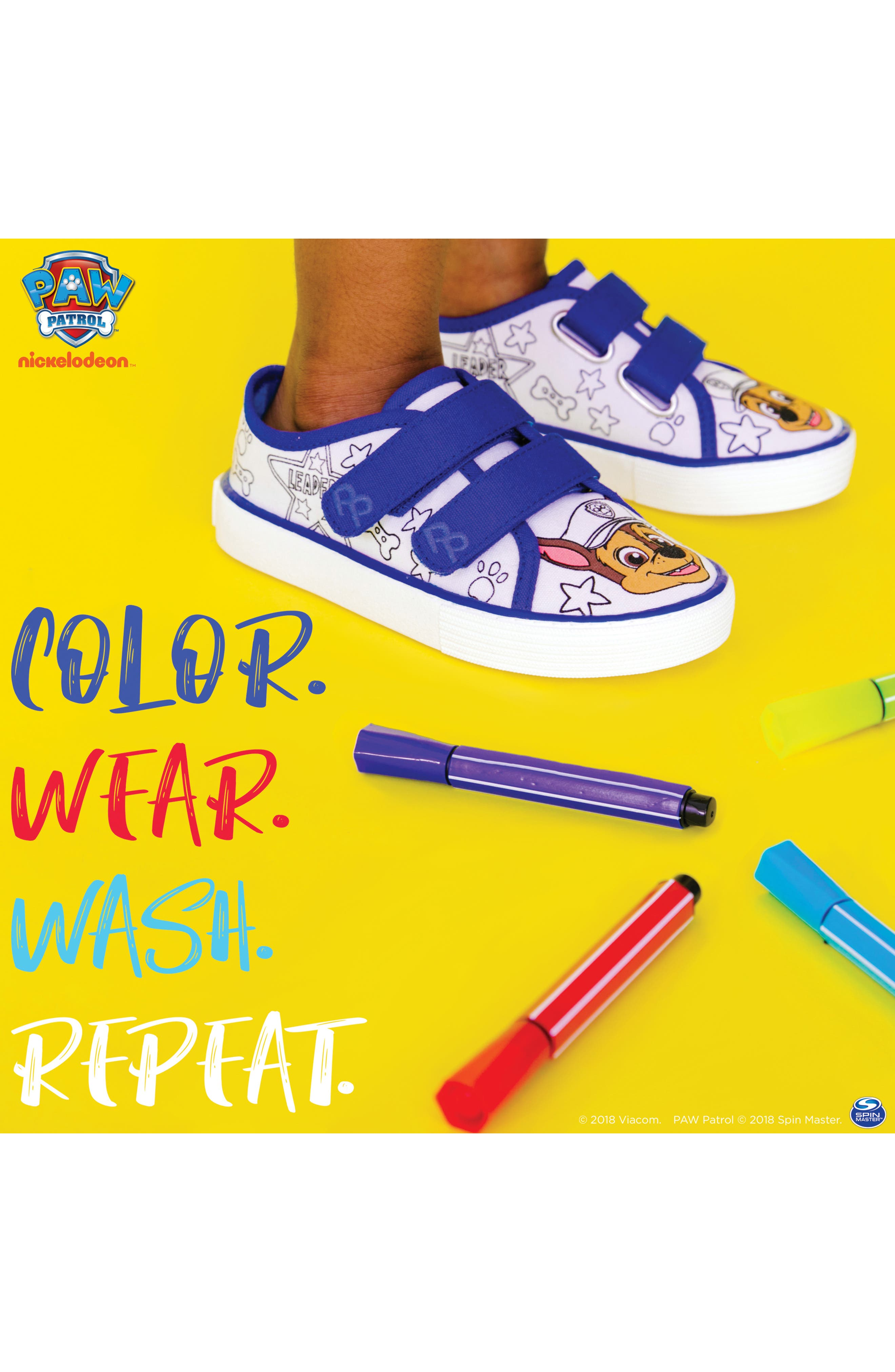 PAW PATROL, Chase Color DIY Sneaker, Alternate thumbnail 9, color, 118