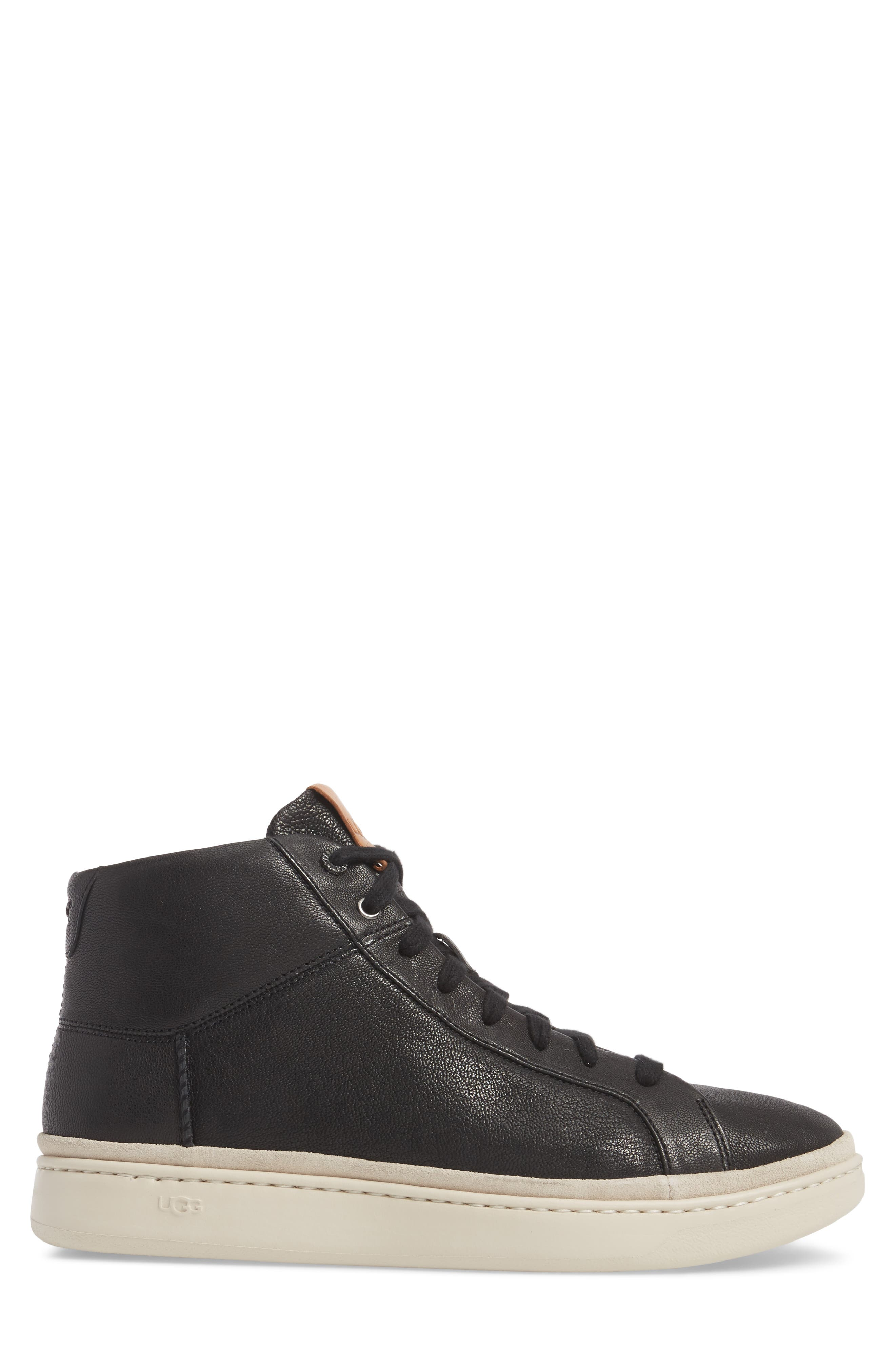 UGG<SUP>®</SUP>, Cali High Top Sneaker, Alternate thumbnail 3, color, BLACK LEATHER