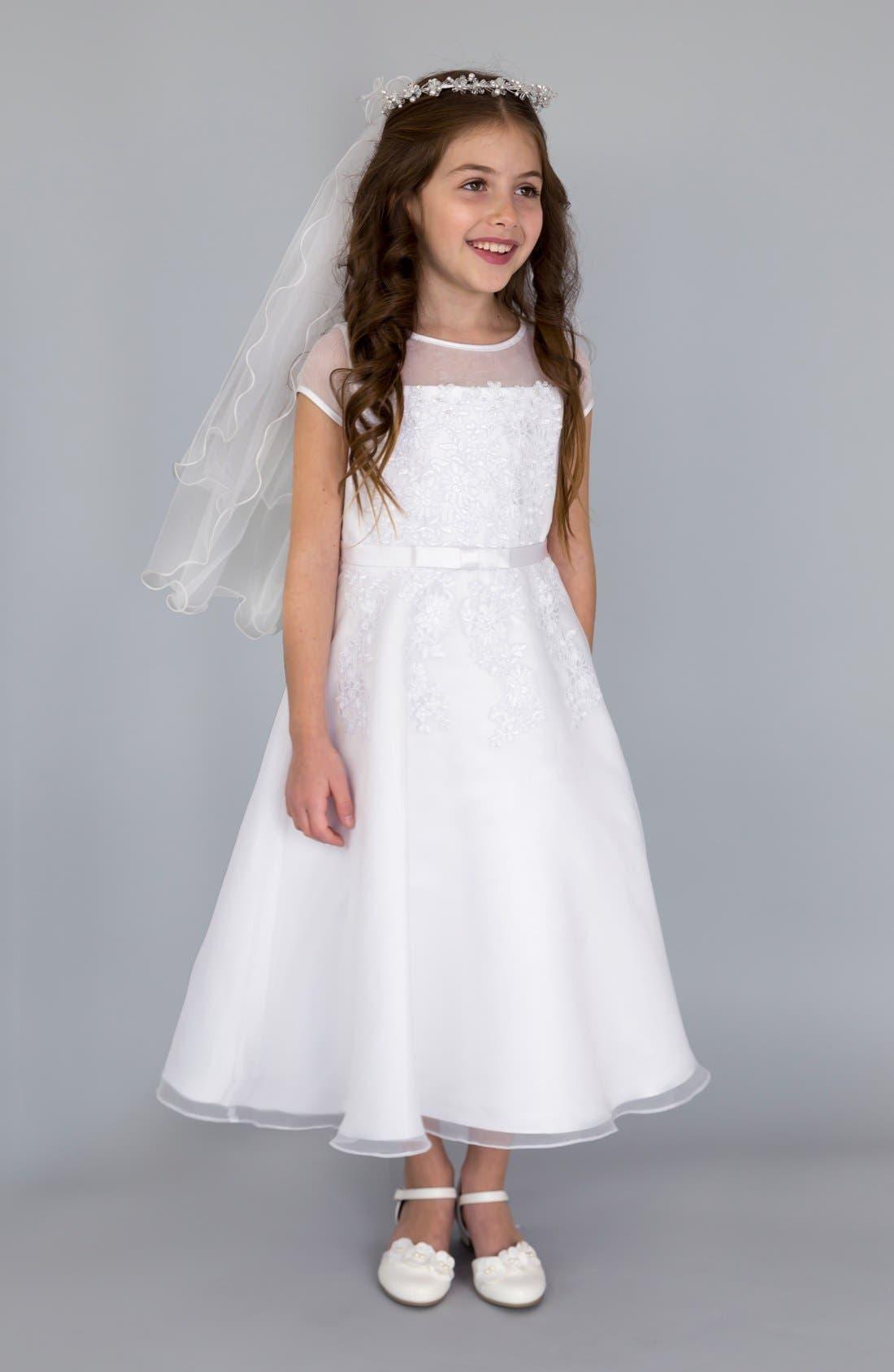 US ANGELS, Illusion Neckline Fit & Flare Dress, Main thumbnail 1, color, WHITE