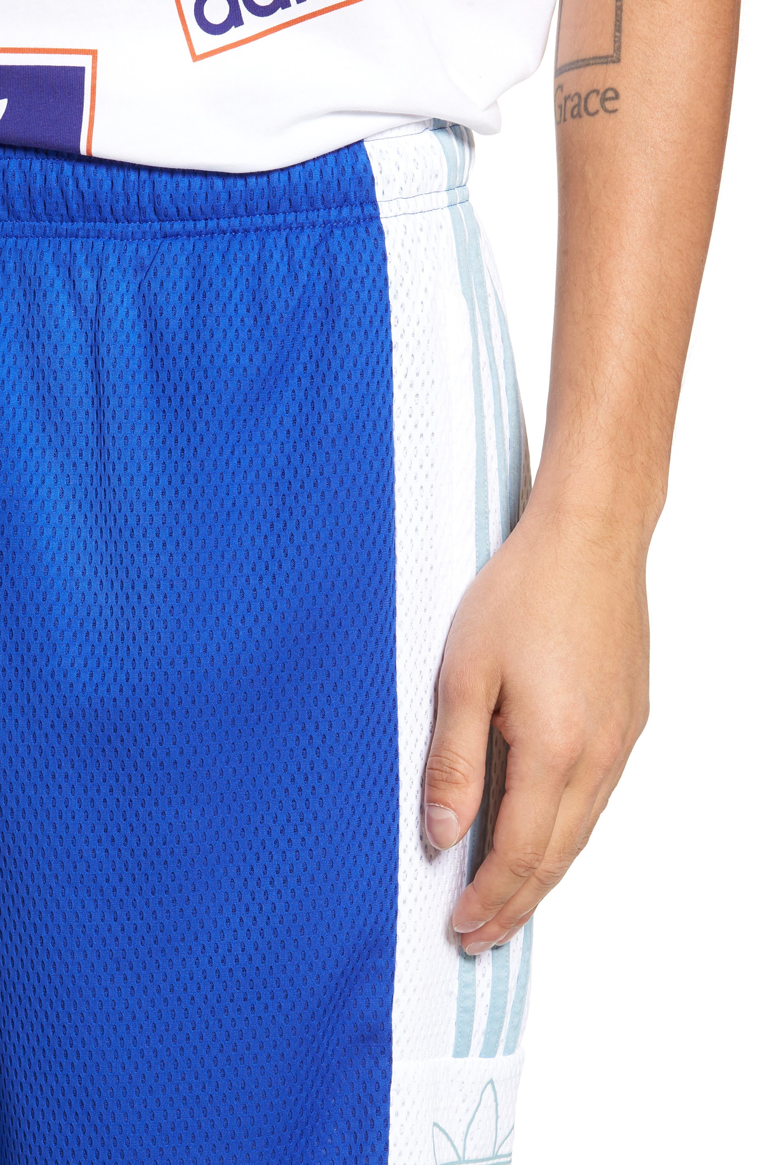 ADIDAS ORIGINALS, Mesh Athletic Shorts, Alternate thumbnail 4, color, BOLD BLUE/ WHITE