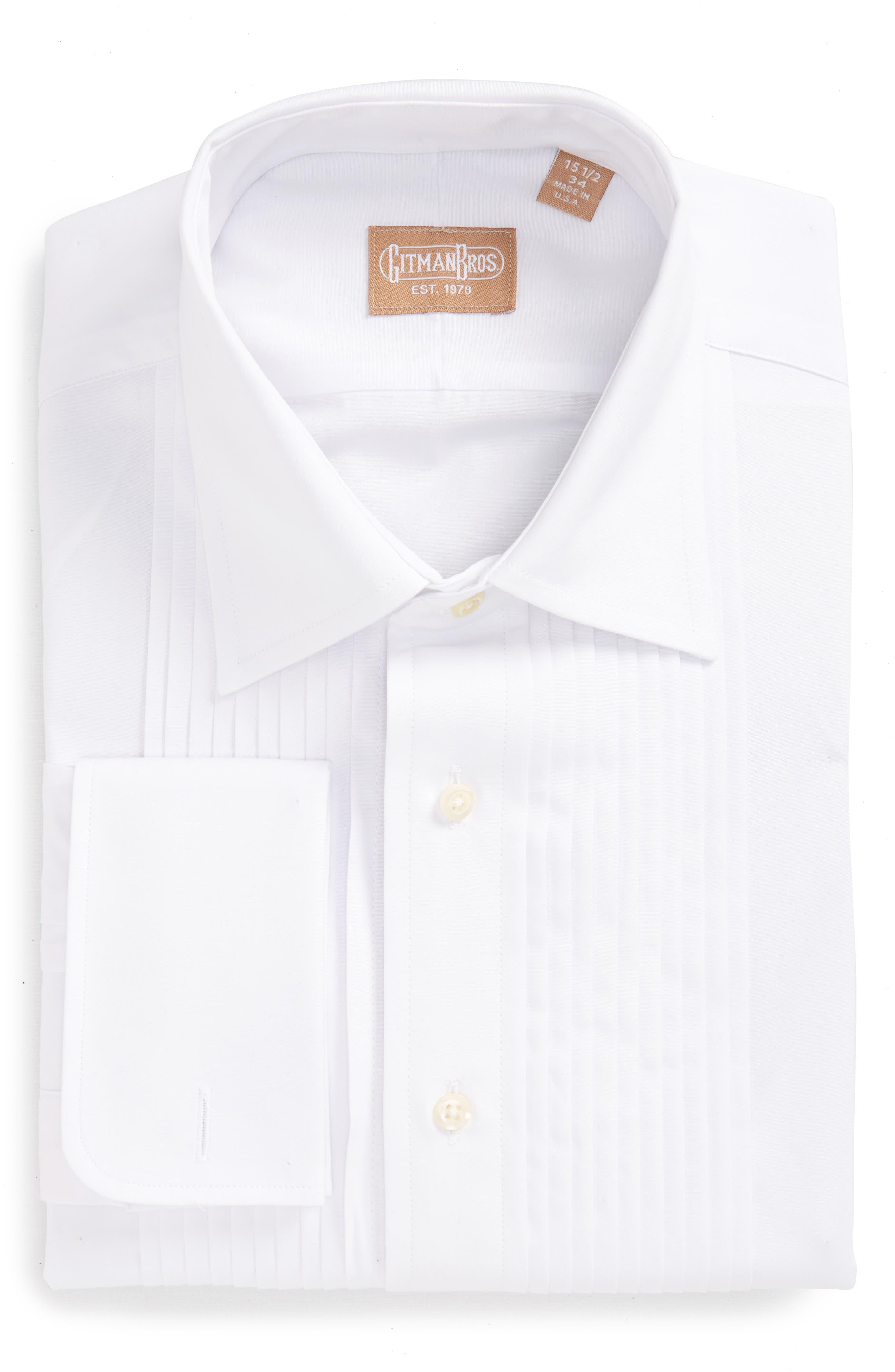 GITMAN, Regular Fit Pleated Dress Shirt, Alternate thumbnail 2, color, WHITE