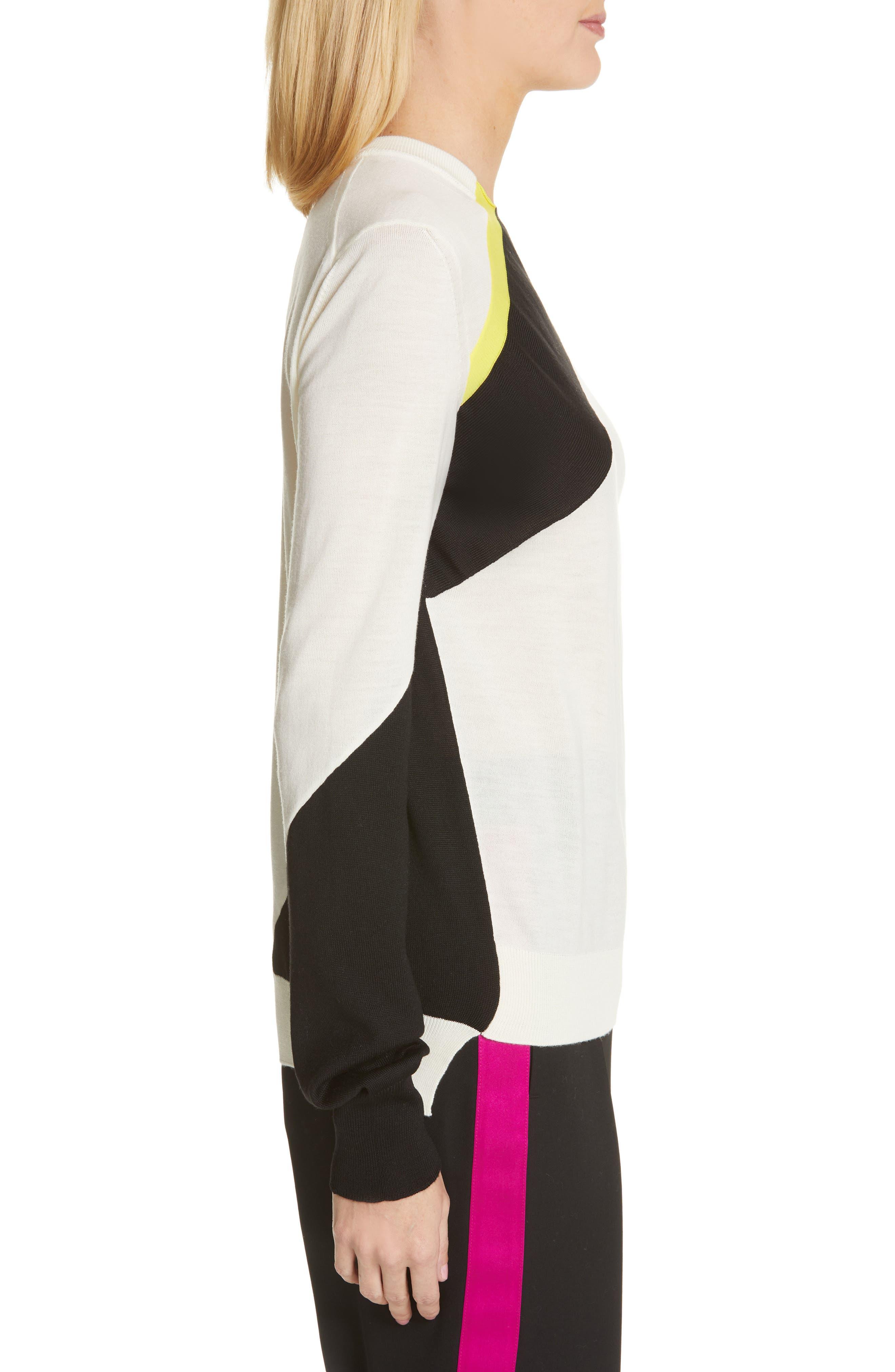 CALVIN KLEIN 205W39NYC, Contrast Stripe Wool Blend Sweater, Alternate thumbnail 4, color, WHITE BLACK TOURNESOL