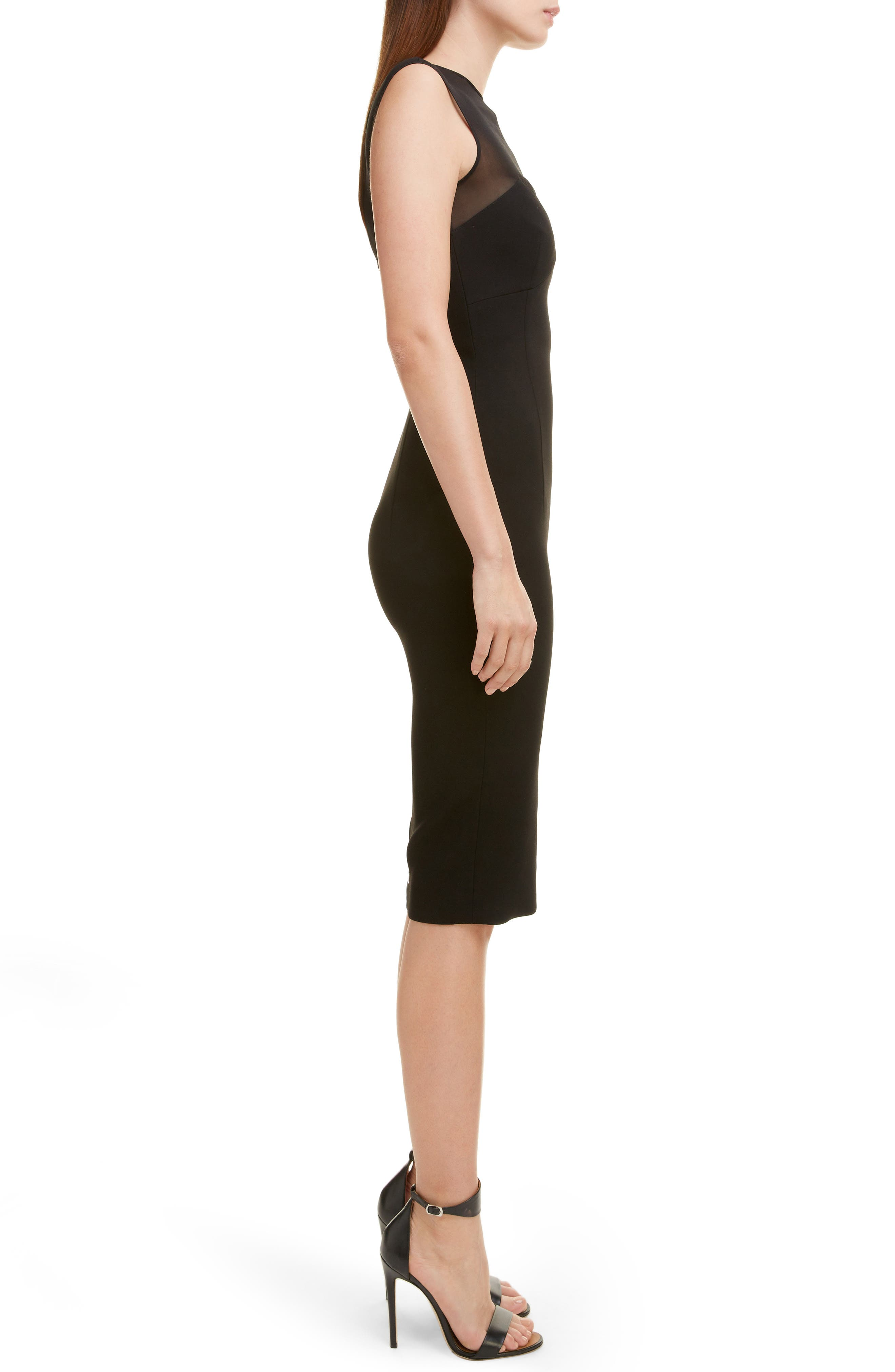 VICTORIA BECKHAM, Sheer Yoke Sheath Dress, Alternate thumbnail 3, color, BLACK
