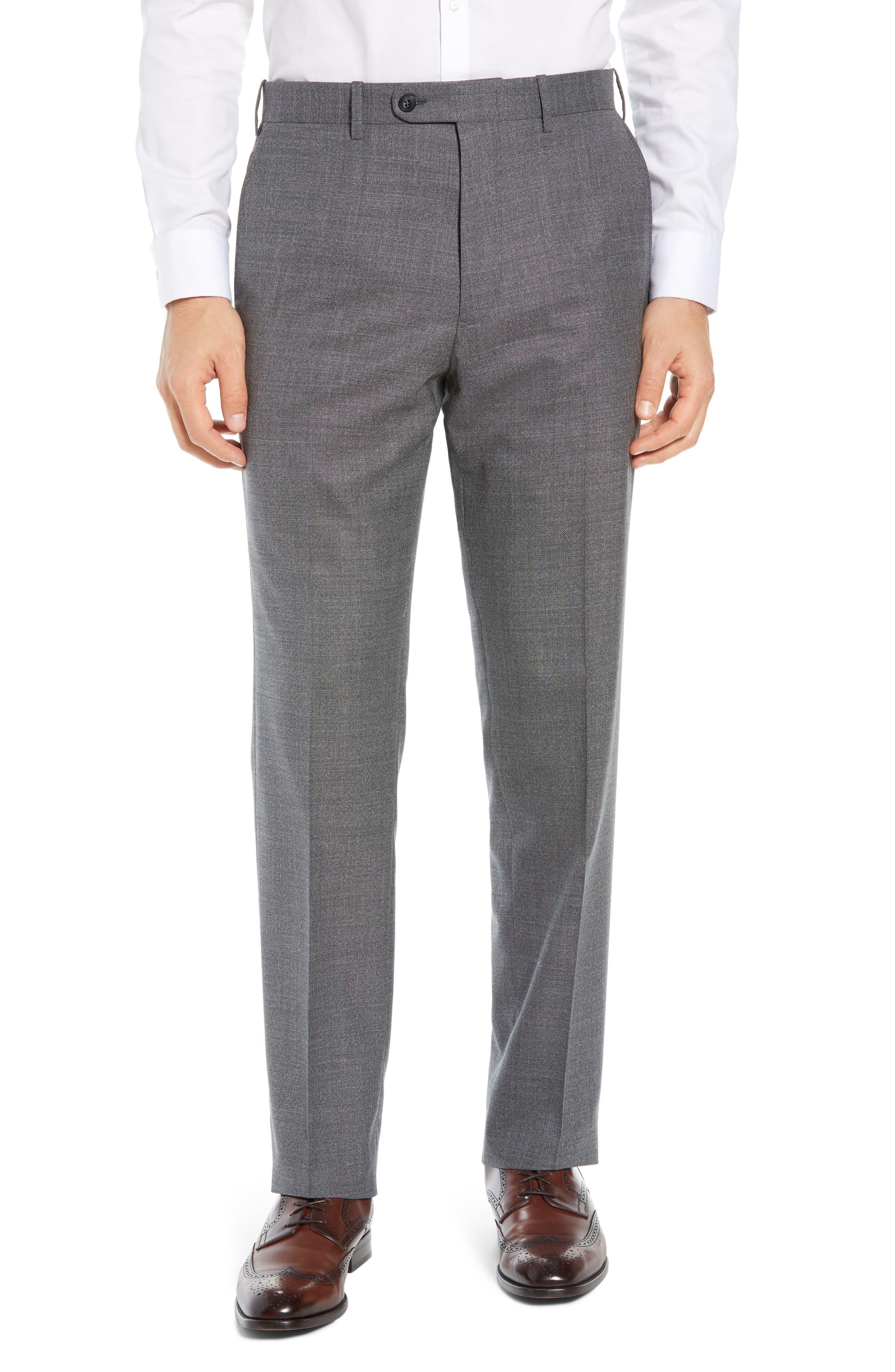 JOHN W. NORDSTROM<SUP>®</SUP>, Torino Flat Front Solid Wool Trousers, Main thumbnail 1, color, GREY PHANTOM BASKET WEAVE