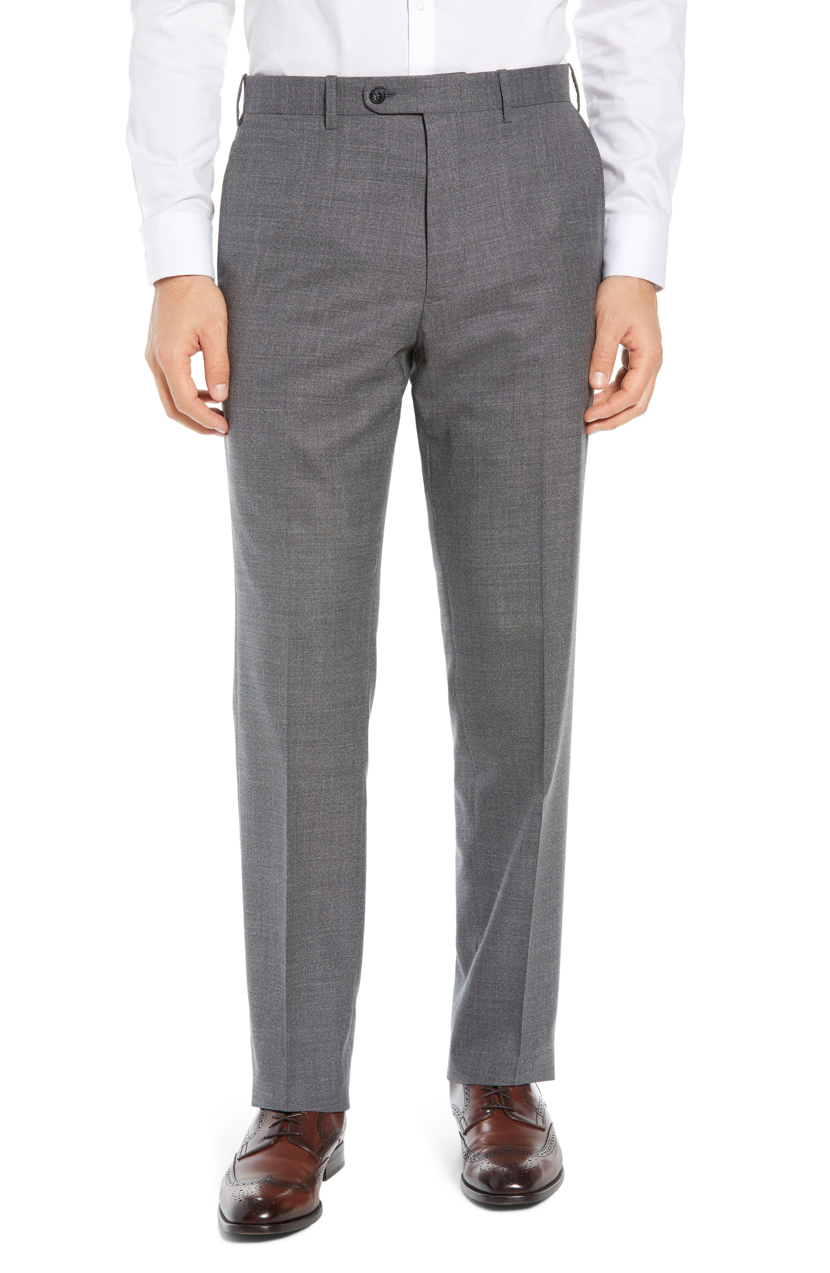 JOHN W. NORDSTROM<SUP>®</SUP> Torino Flat Front Solid Wool Trousers, Main, color, GREY PHANTOM BASKET WEAVE
