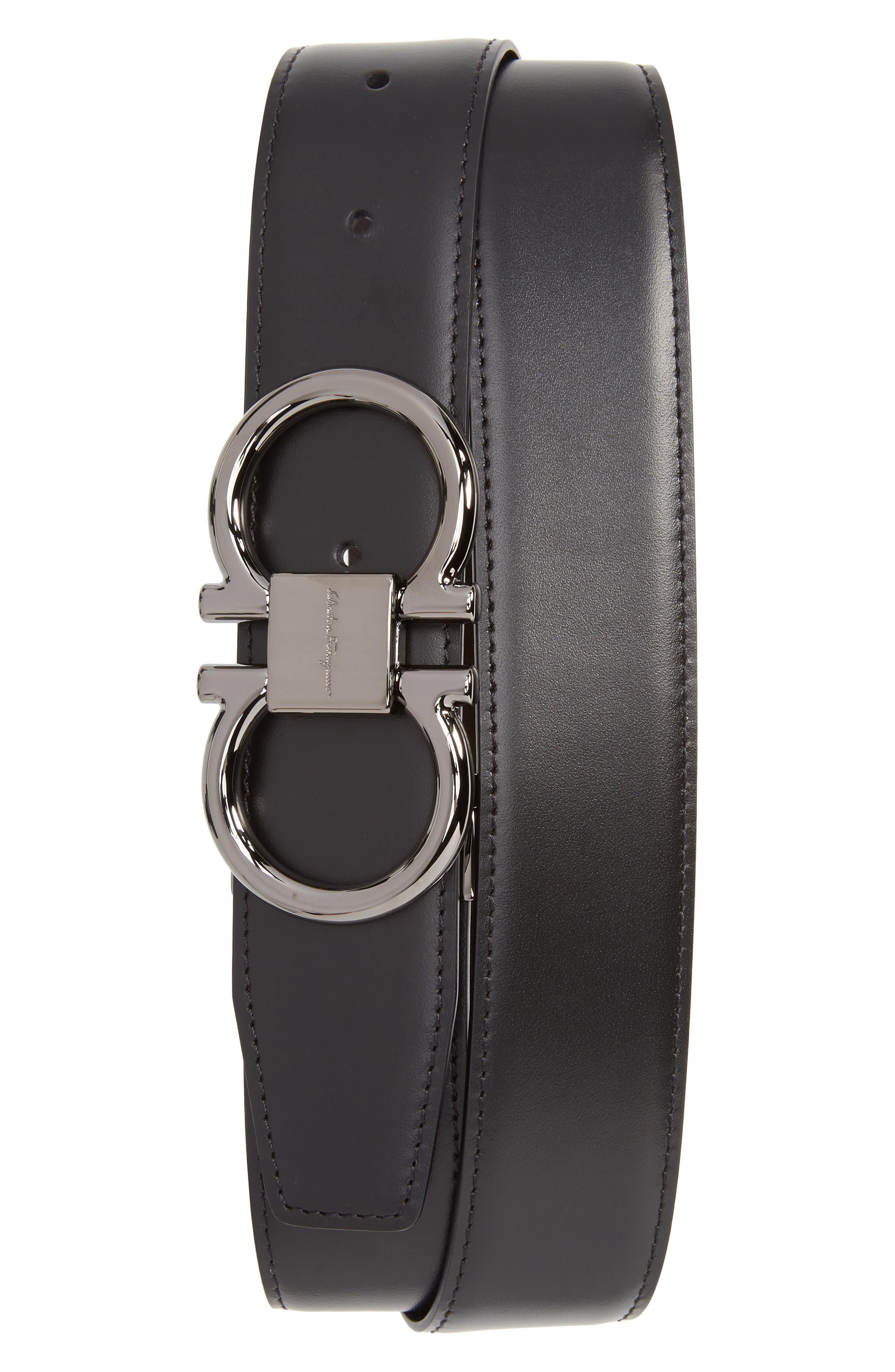 SALVATORE FERRAGAMO, Gancio Reversible Calfskin Leather Belt, Main thumbnail 1, color, BLACK/ HICKORY