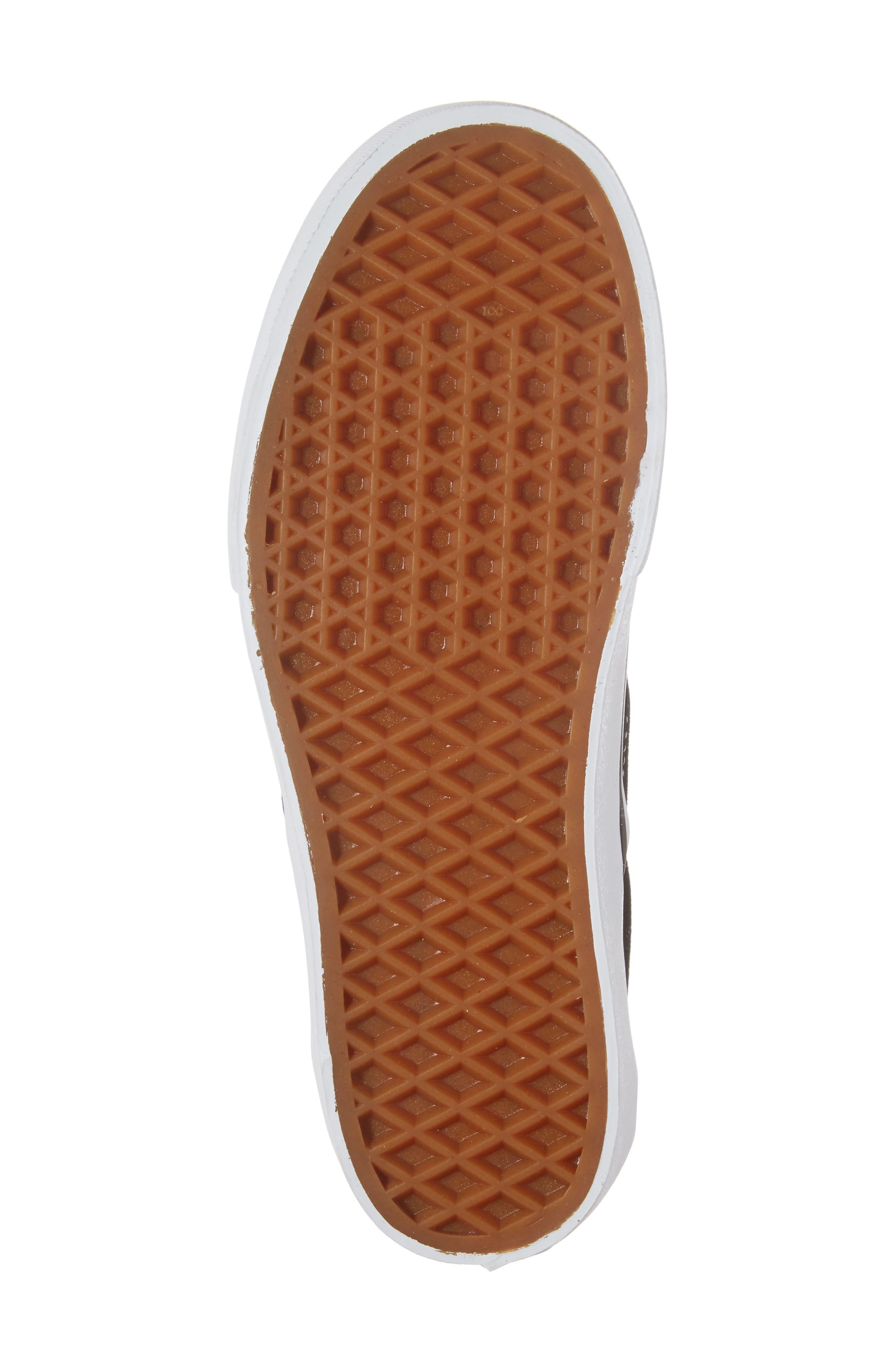 VANS, Platform Slip-On Sneaker, Alternate thumbnail 6, color, BLACK/ WHITE