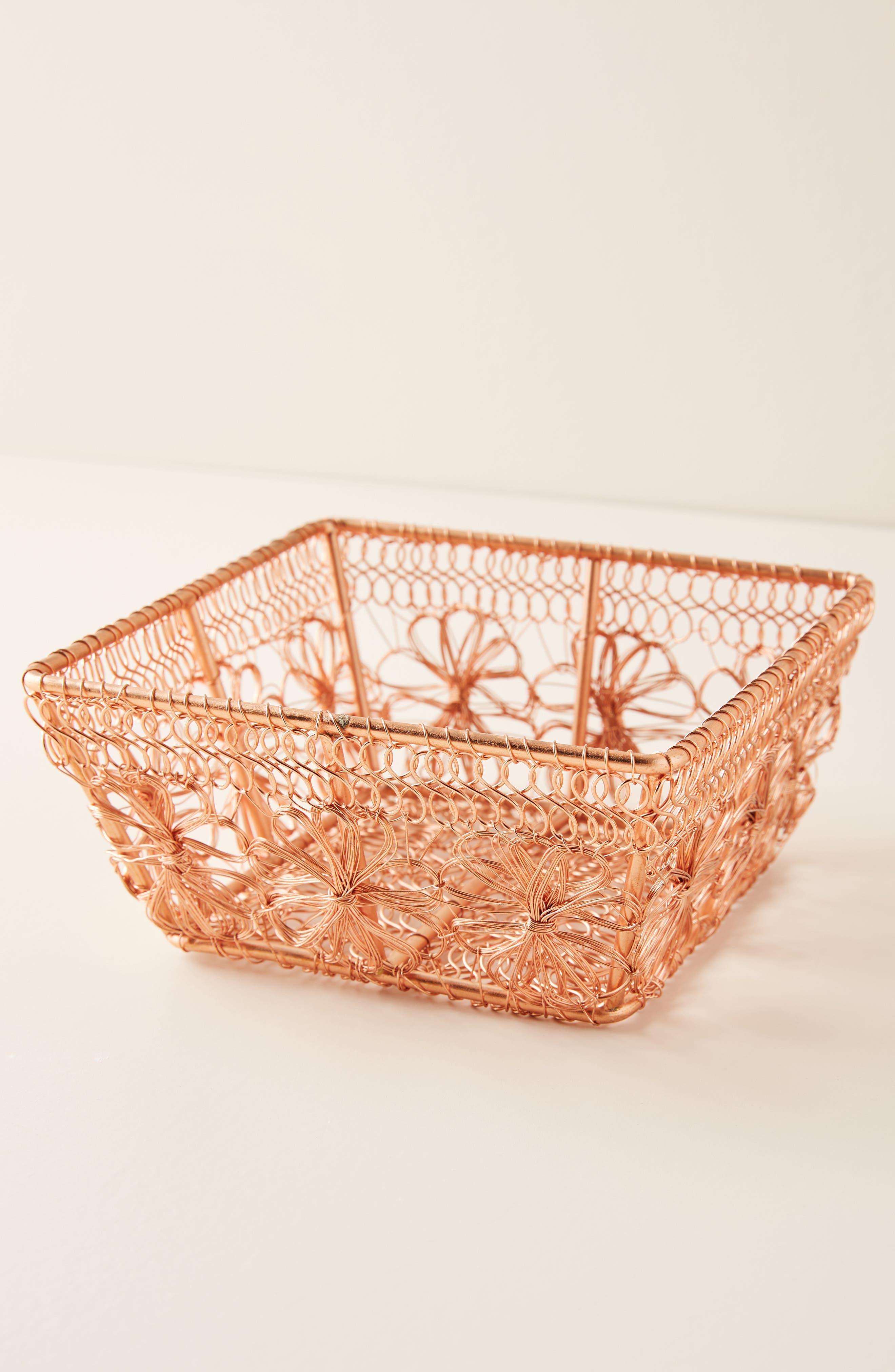 ANTHROPOLOGIE, Copper Floral Berry Basket, Main thumbnail 1, color, COPPER