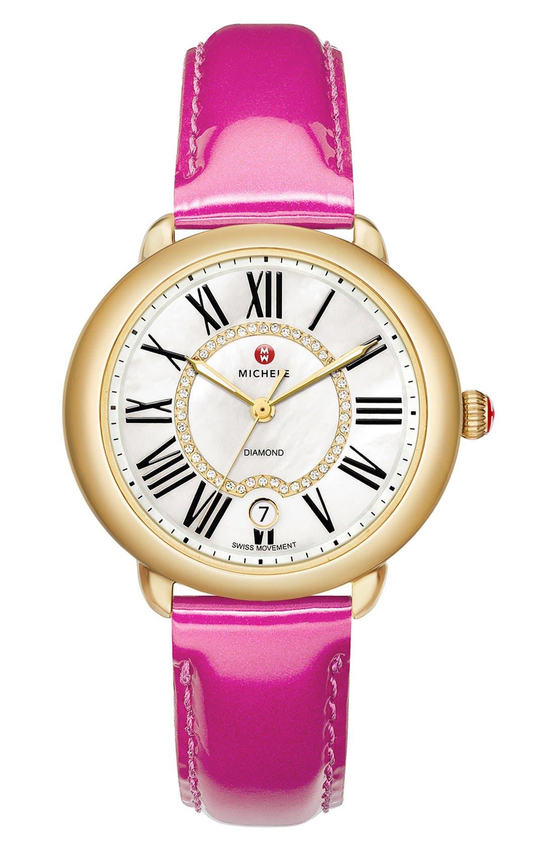 MICHELE, Serein 16 Diamond Dial Watch Head, 34mm x 36mm, Alternate thumbnail 5, color, GOLD