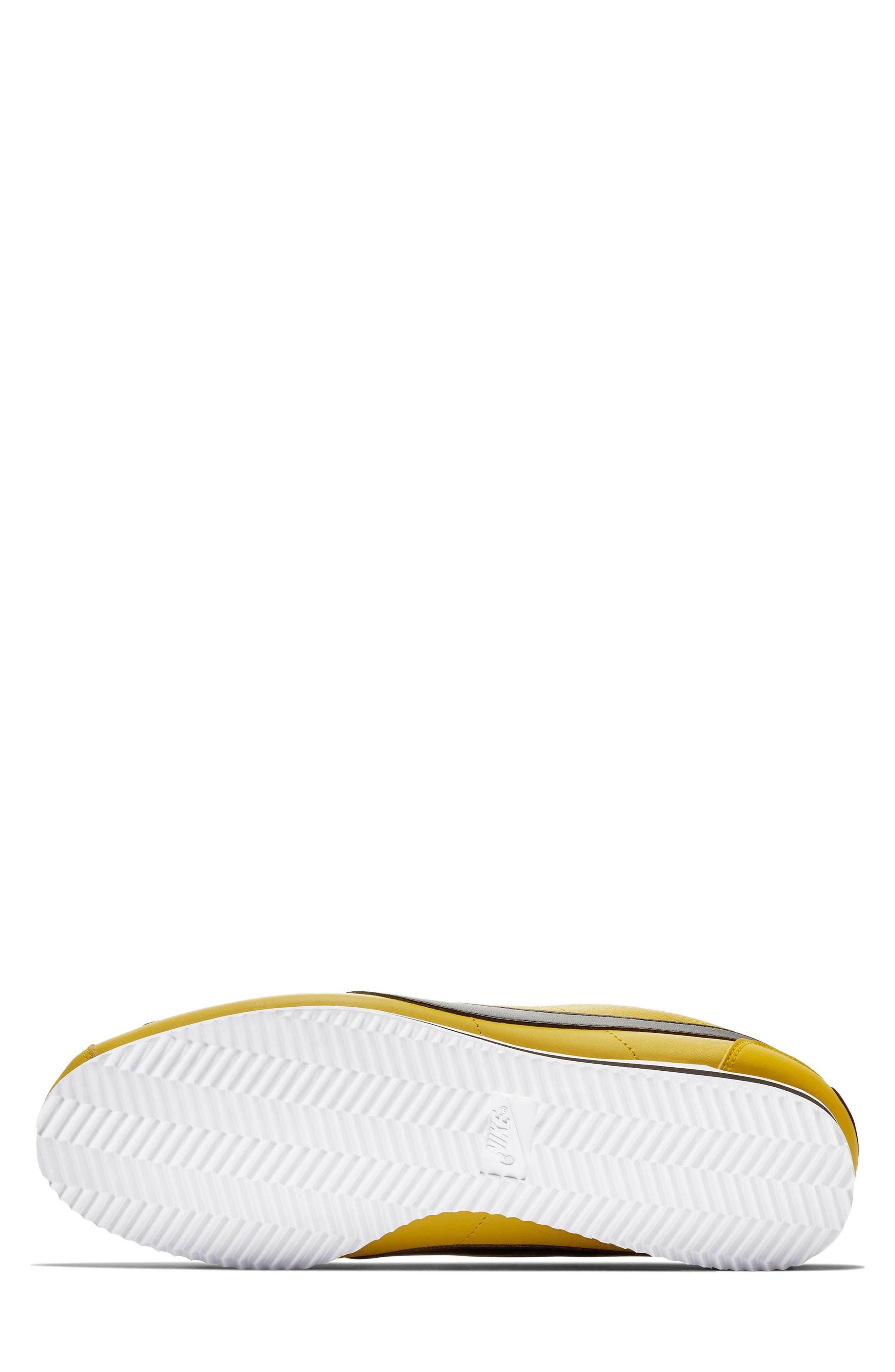 NIKE, Classic Cortez Premium Sneaker, Alternate thumbnail 5, color, BRIGHT CITRON/ BLACK/ WHITE