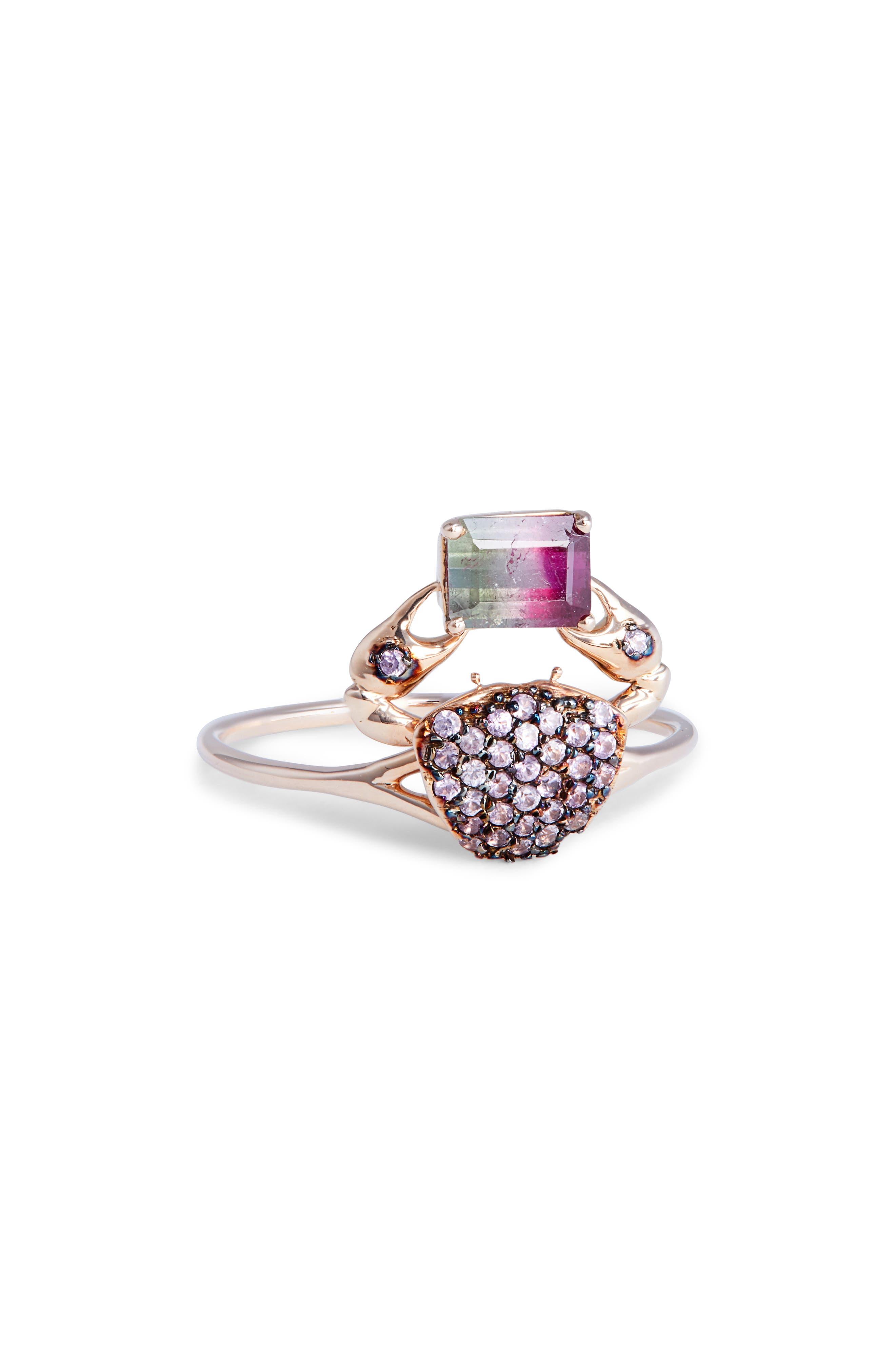 DANIELA VILLEGAS, Cosquilleo Watermelon Tourmaline & Pink Sapphire Ring, Main thumbnail 1, color, 710
