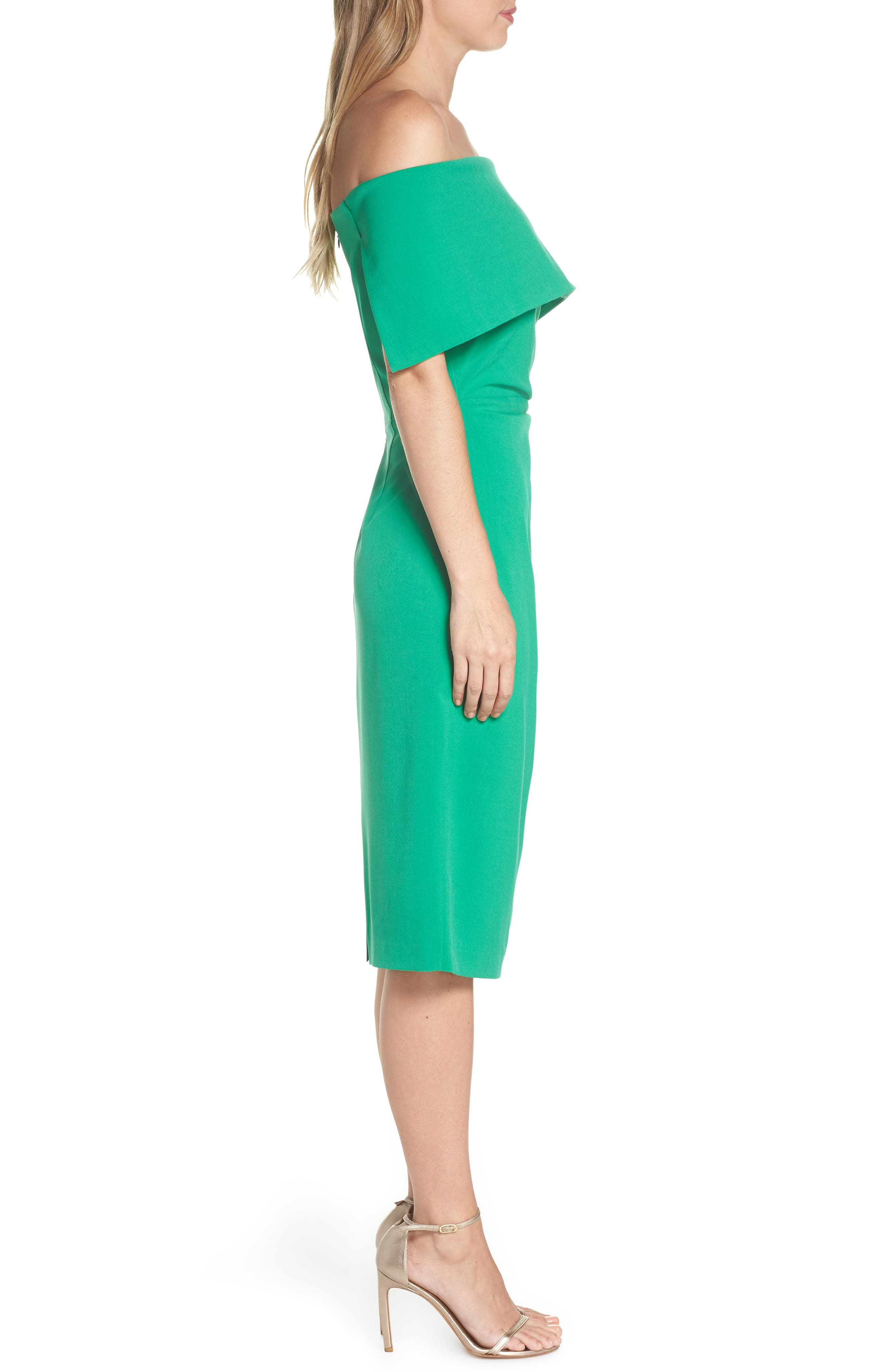 VINCE CAMUTO, Popover Midi Dress, Alternate thumbnail 4, color, GREEN