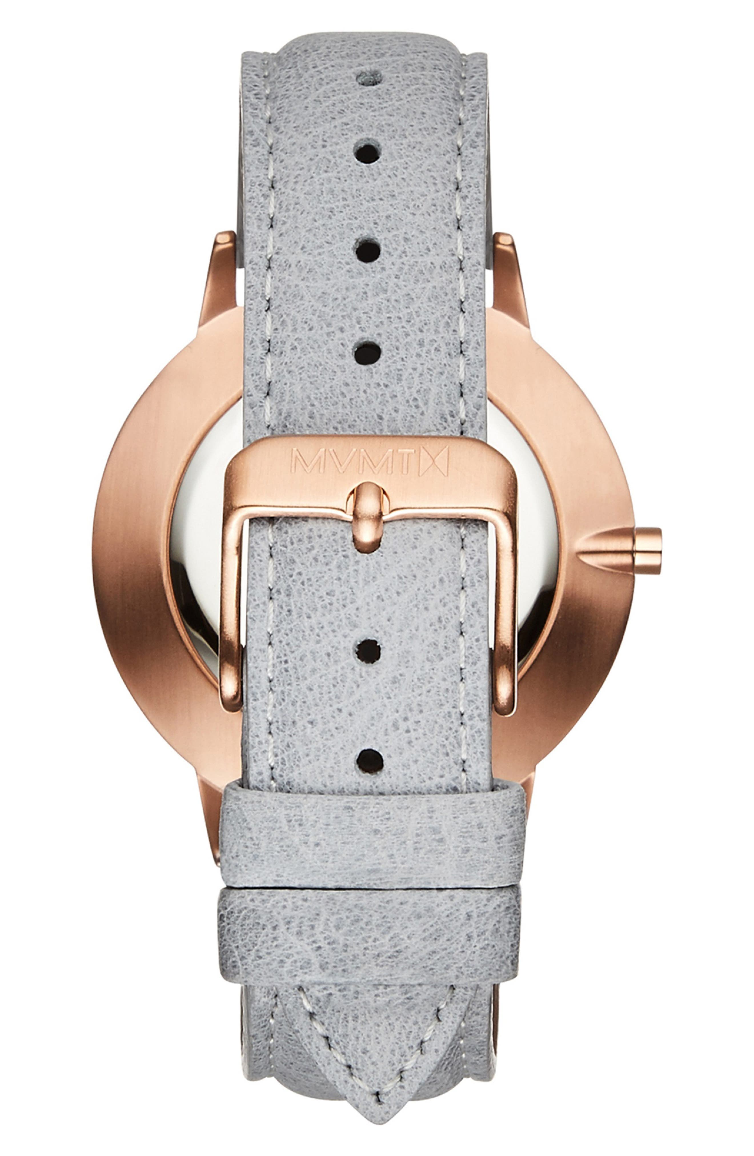 MVMT, Boulevard Leather Strap Watch, 38mm, Alternate thumbnail 3, color, GREY/ WHITE MARBLE/ ROSE GOLD