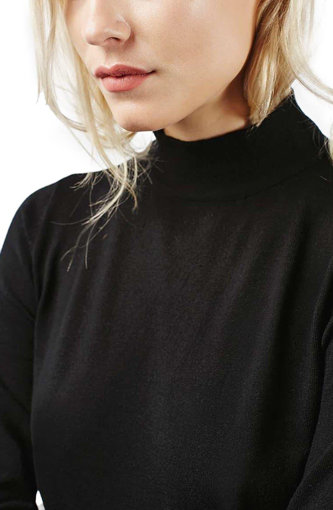 TOPSHOP, Blouson Sleeve Mock Neck Sweater, Alternate thumbnail 5, color, 001