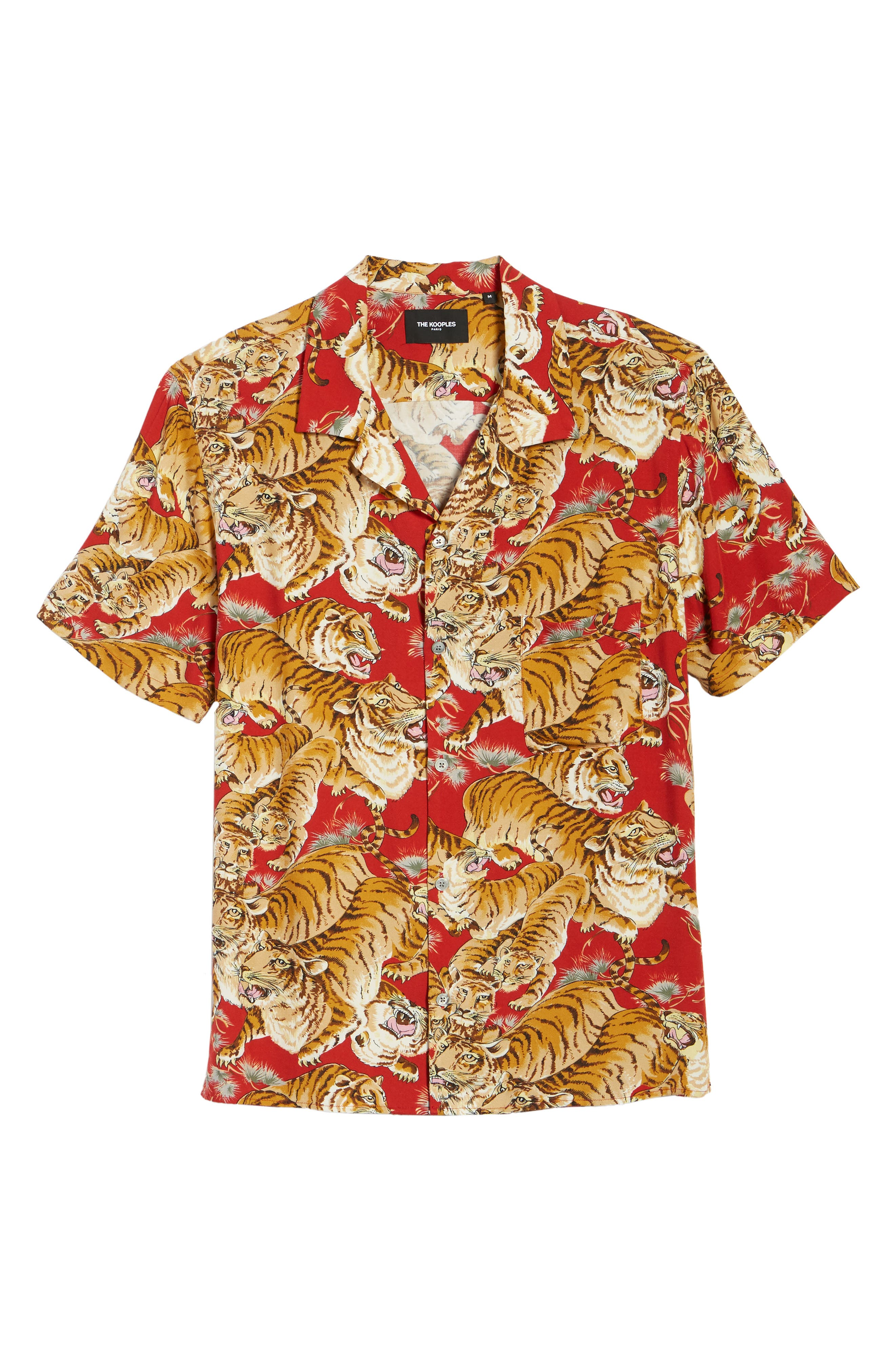 THE KOOPLES, Tiger Print Short Sleeve Camp Shirt, Alternate thumbnail 5, color, 250