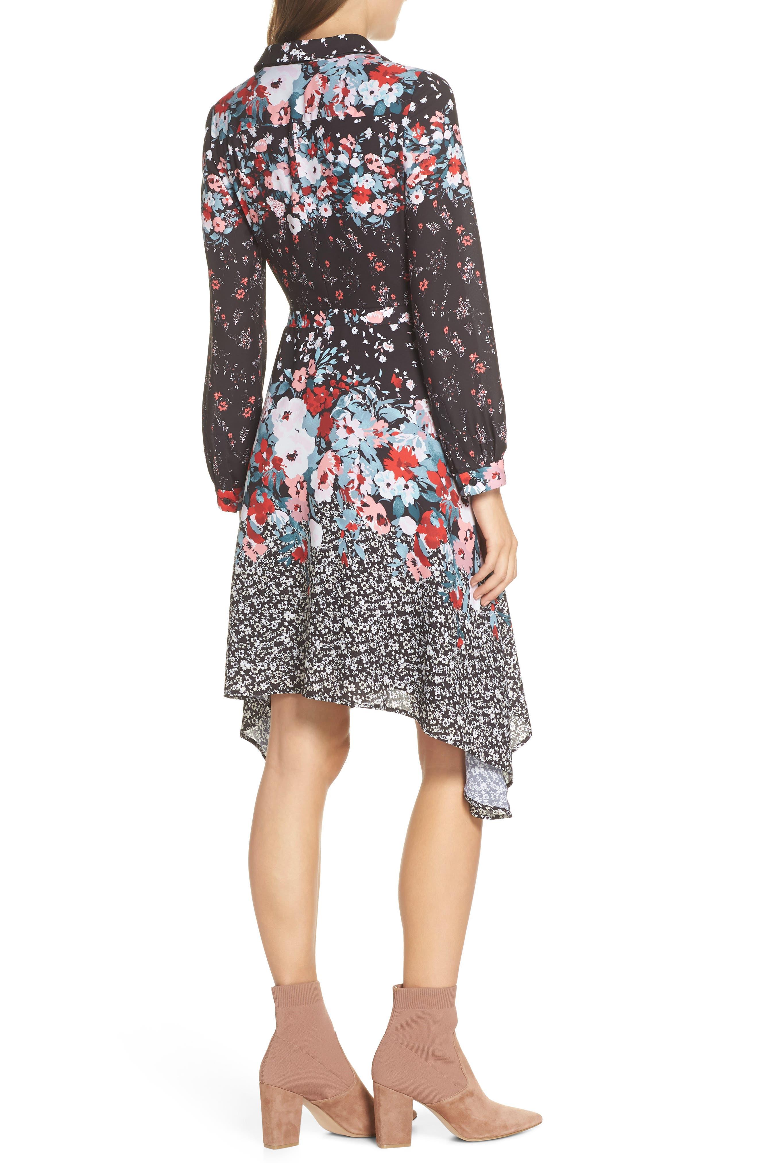 JULIA JORDAN, Floral Print Shirtdress, Alternate thumbnail 2, color, 017