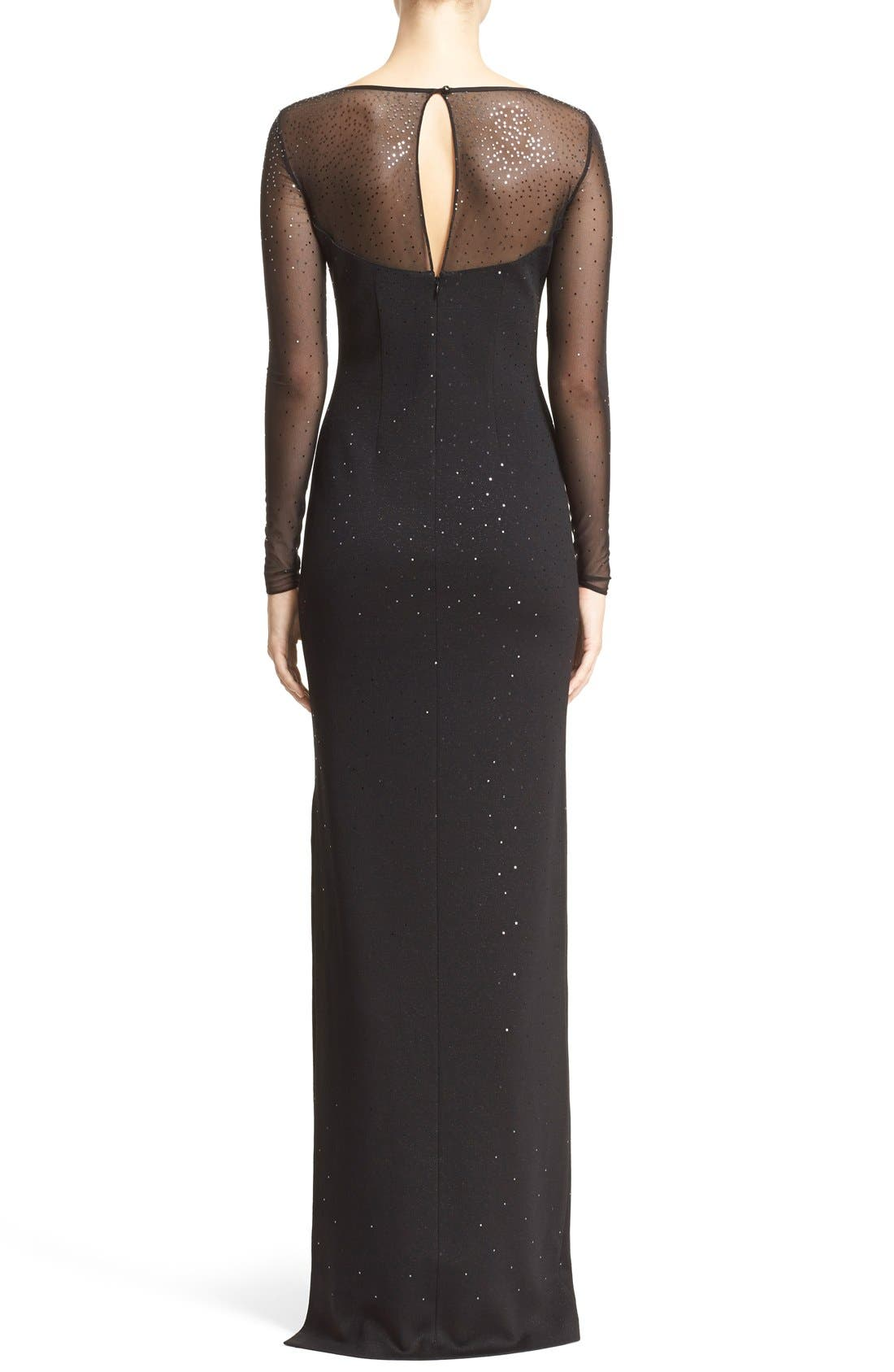 ST. JOHN COLLECTION, Embellished Shimmer Milano Knit Gown, Alternate thumbnail 5, color, 001