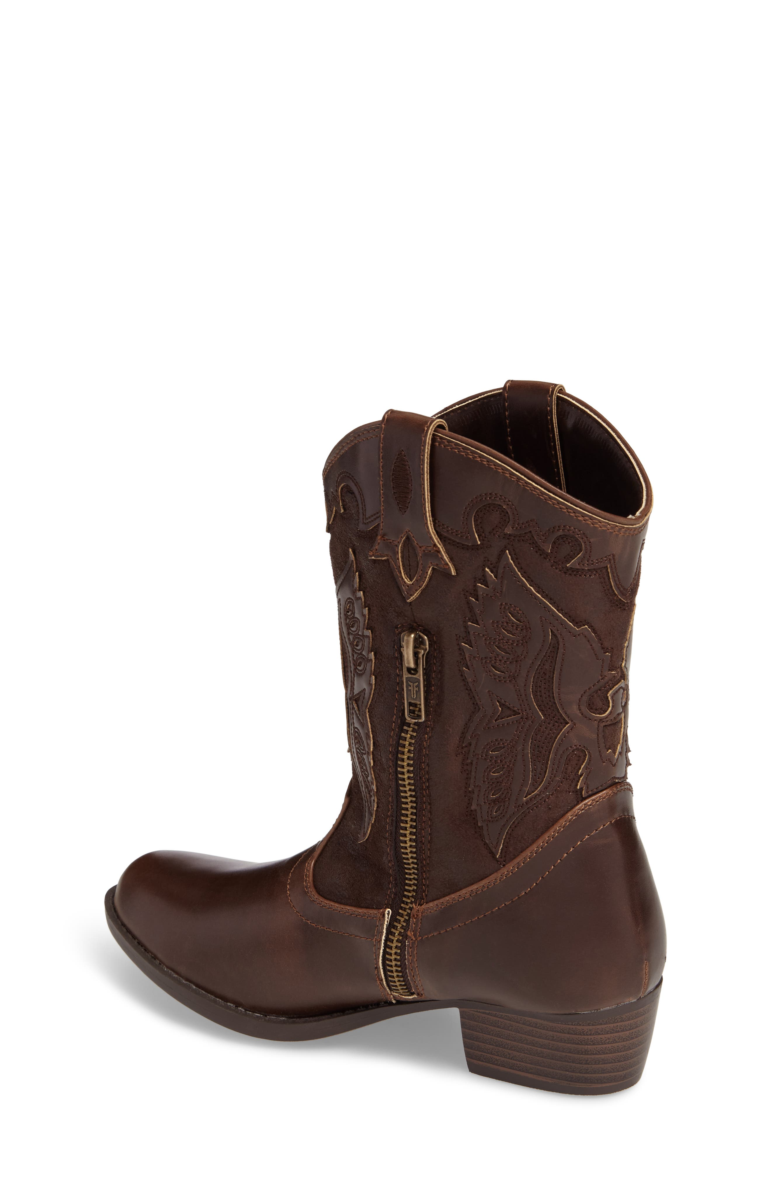 FRYE, Carson Firebird Cowgirl Boot, Alternate thumbnail 2, color, BROWN
