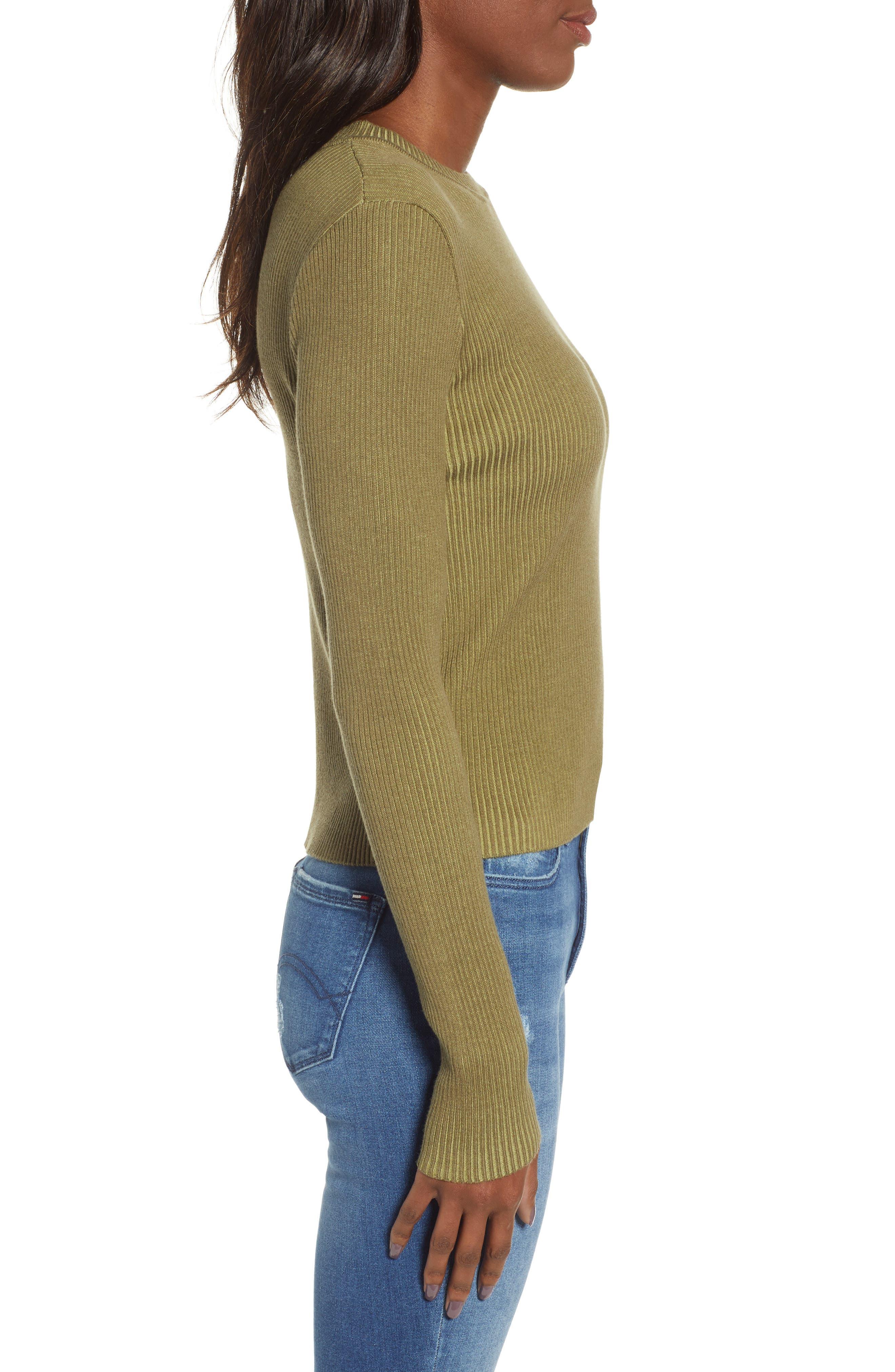 BP., Plaited Rib Sweater, Alternate thumbnail 4, color, OLIVE BURNT