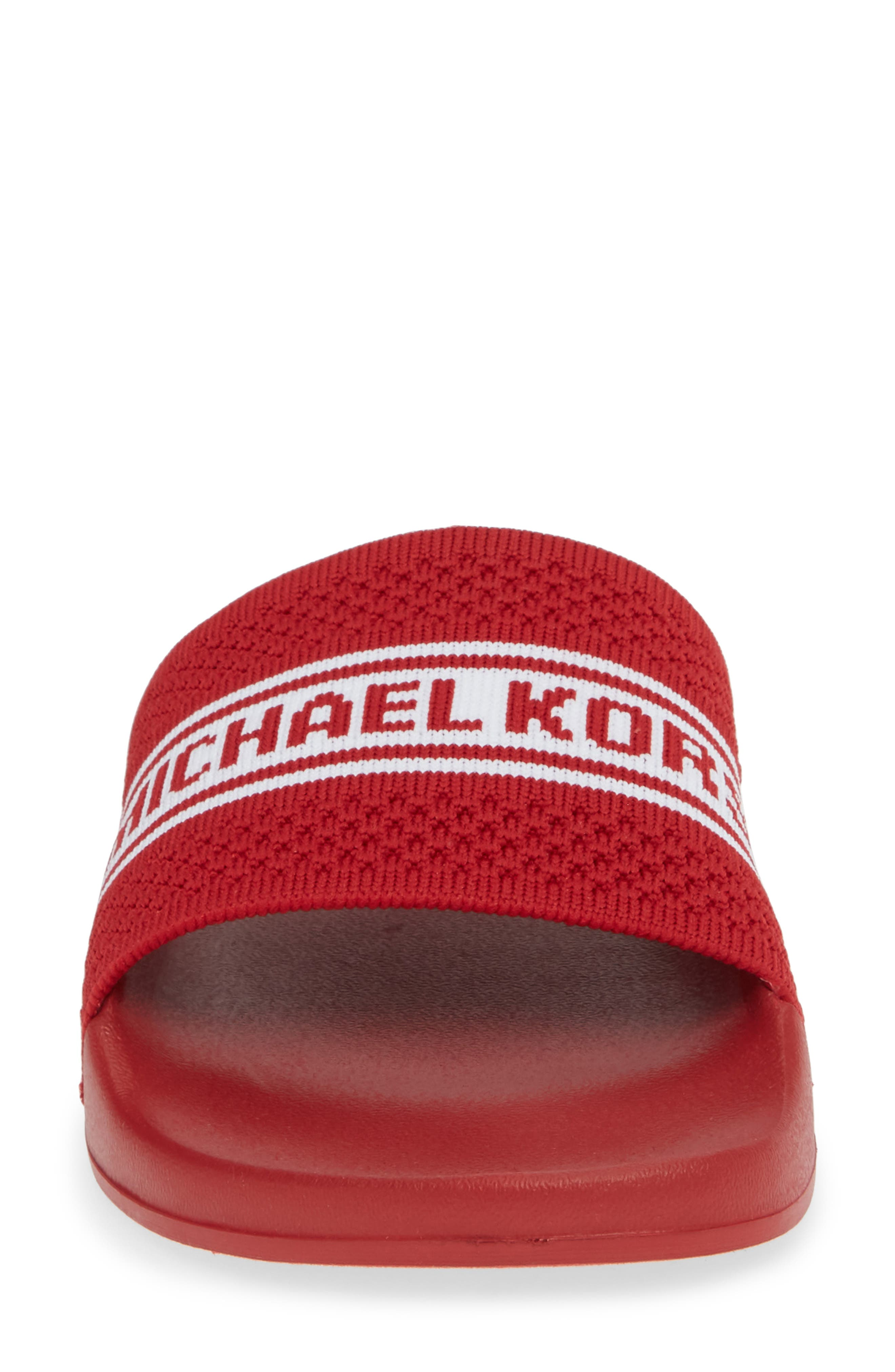MICHAEL MICHAEL KORS, Gilmore Slide Sandal, Alternate thumbnail 4, color, BRIGHT RED FABRIC