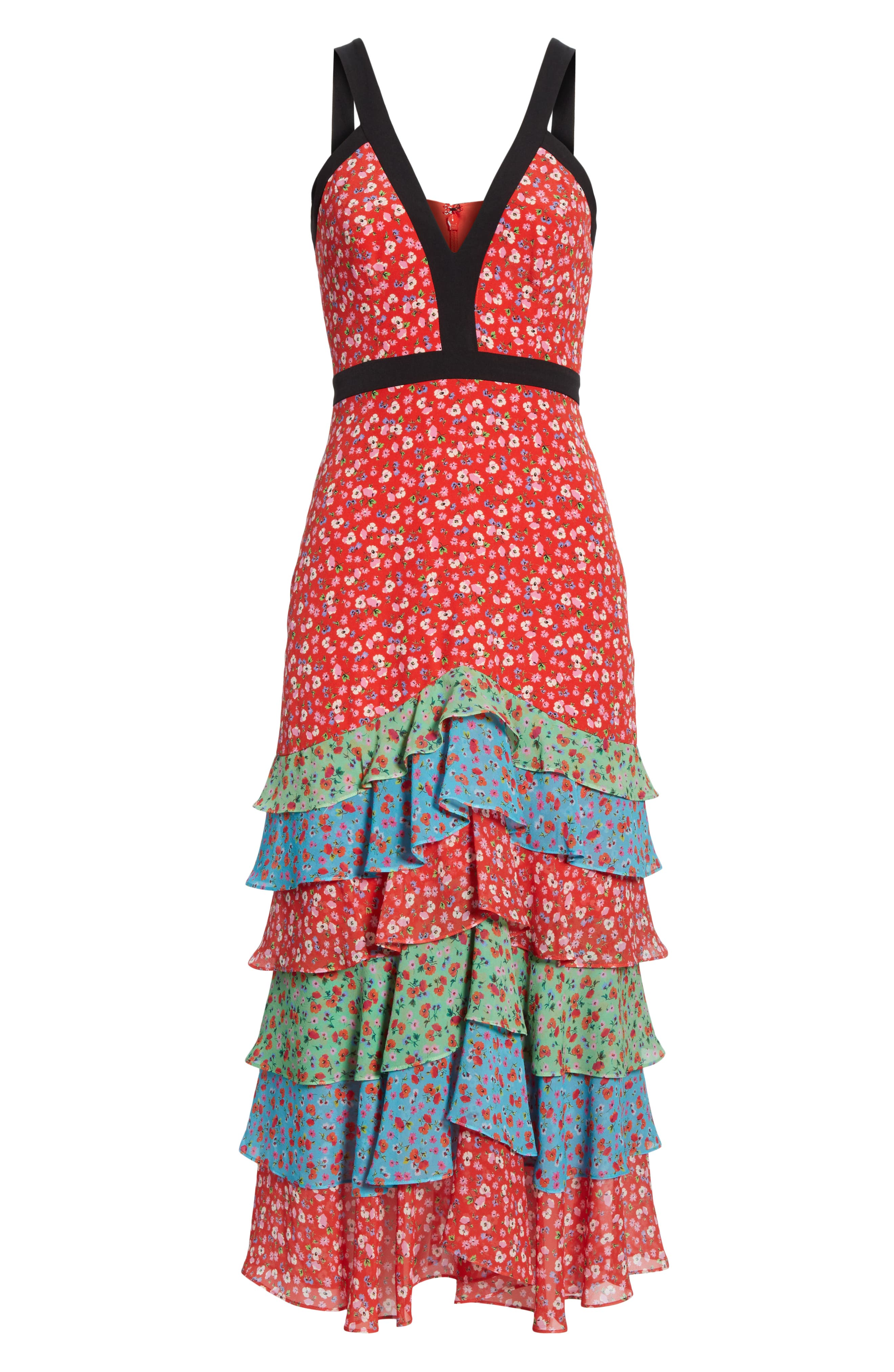 SALONI, Lana Tiered Hem Silk Midi Dress, Alternate thumbnail 6, color, ANENOME