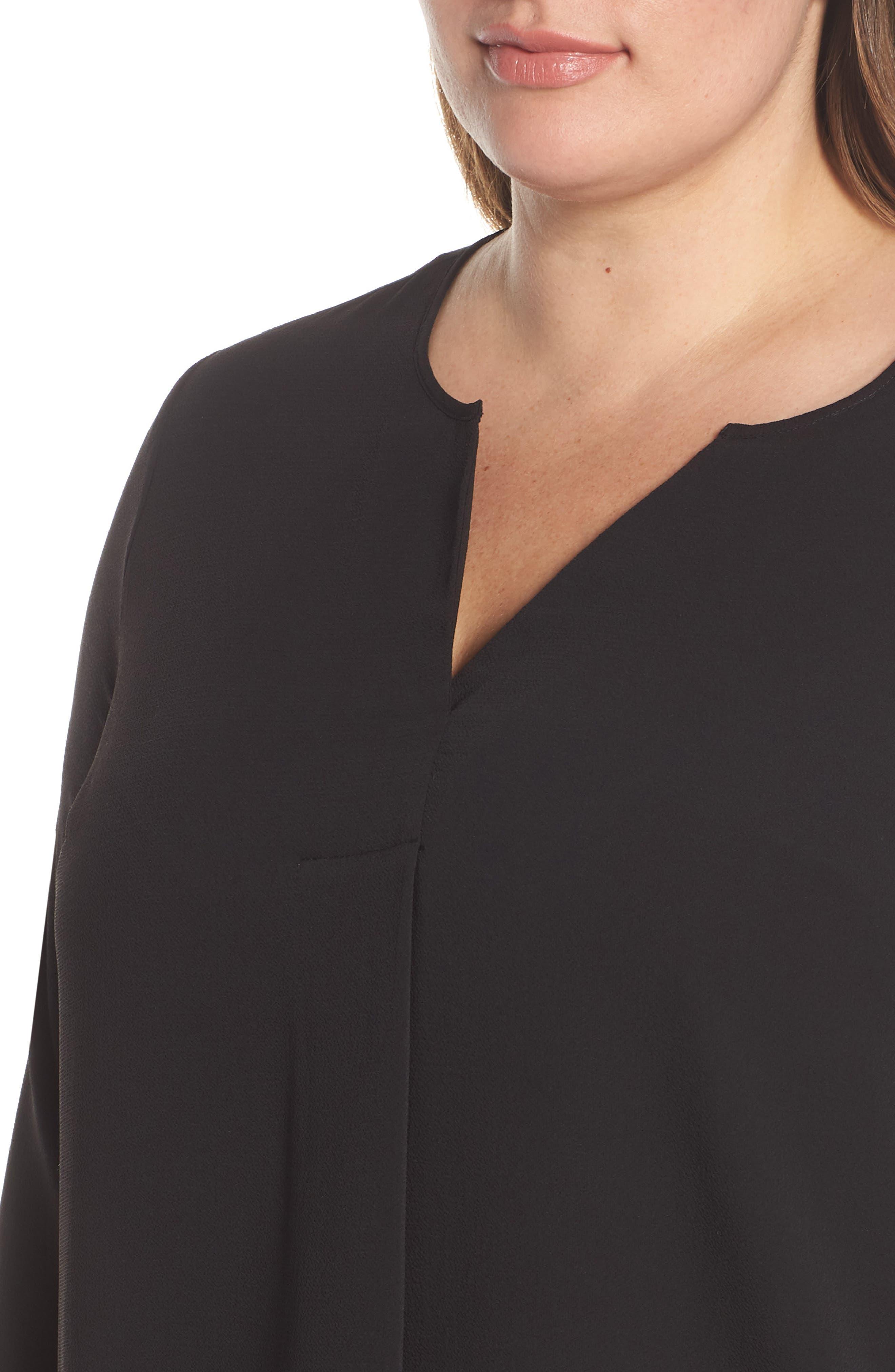 VINCE CAMUTO, Soft Texture Split Neck Tunic, Alternate thumbnail 4, color, RICH BLACK