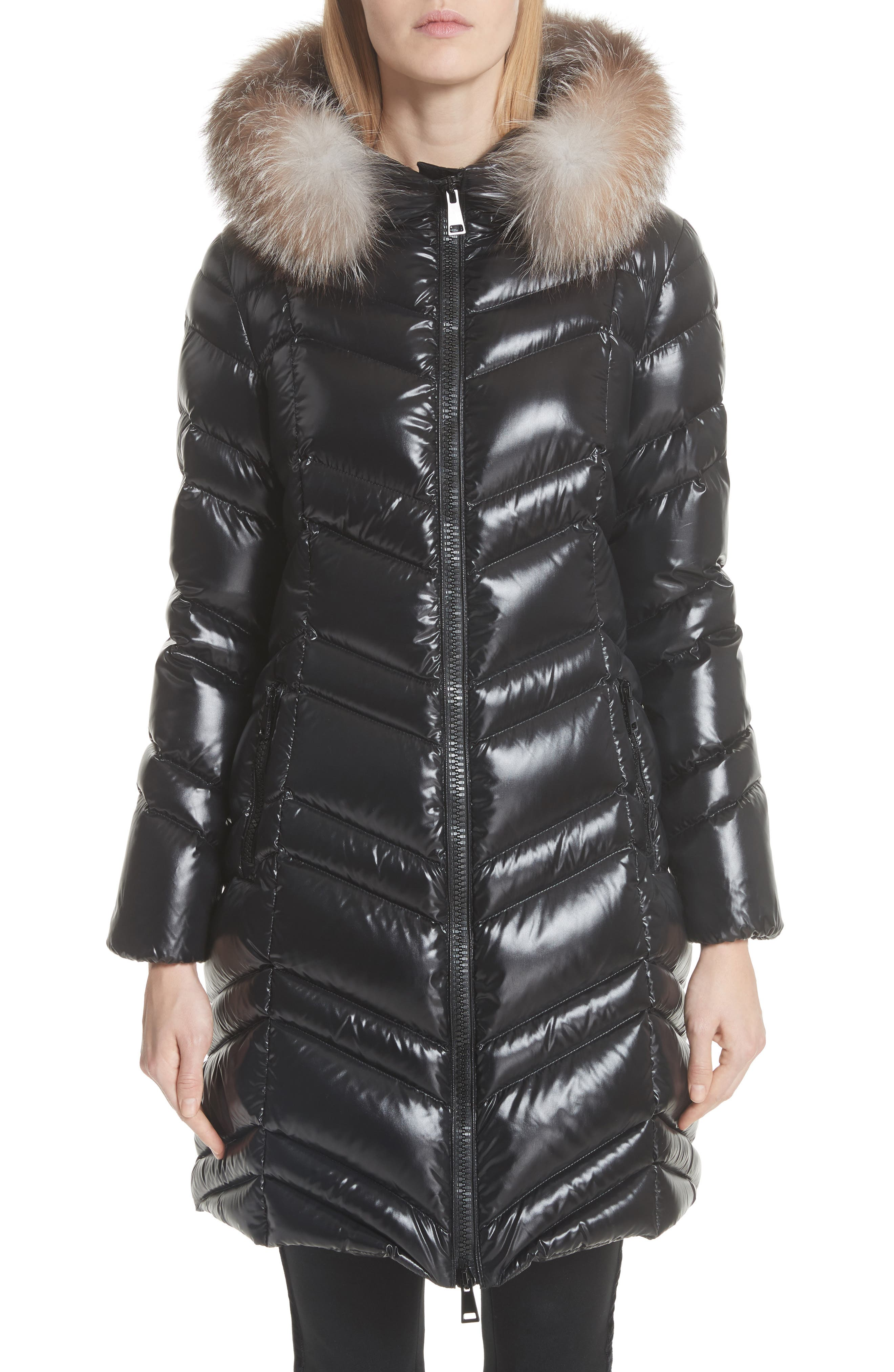MONCLER, Fulmar Hooded Down Puffer Coat with Removable Genuine Fox Fur Trim, Main thumbnail 1, color, BLACK