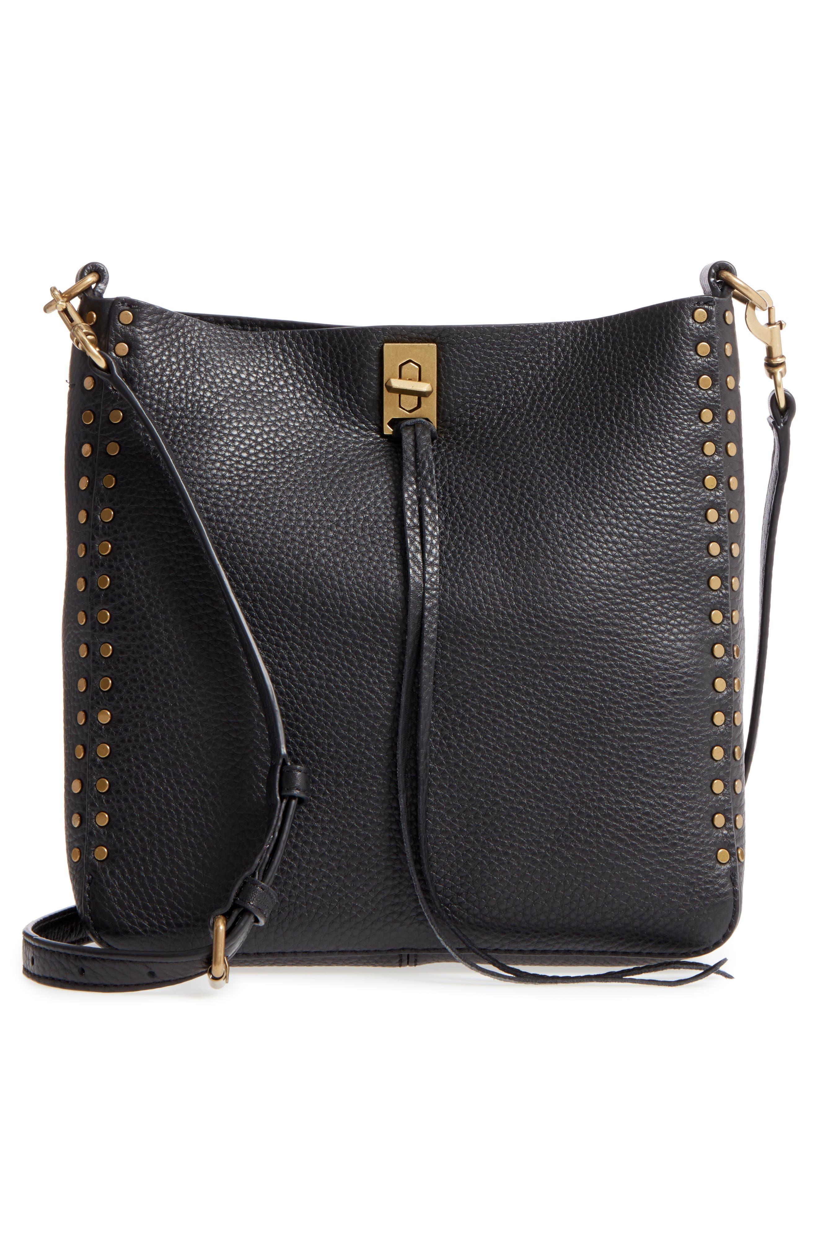 REBECCA MINKOFF, Small Darren Deerskin Leather Feed Bag, Alternate thumbnail 3, color, BLACK