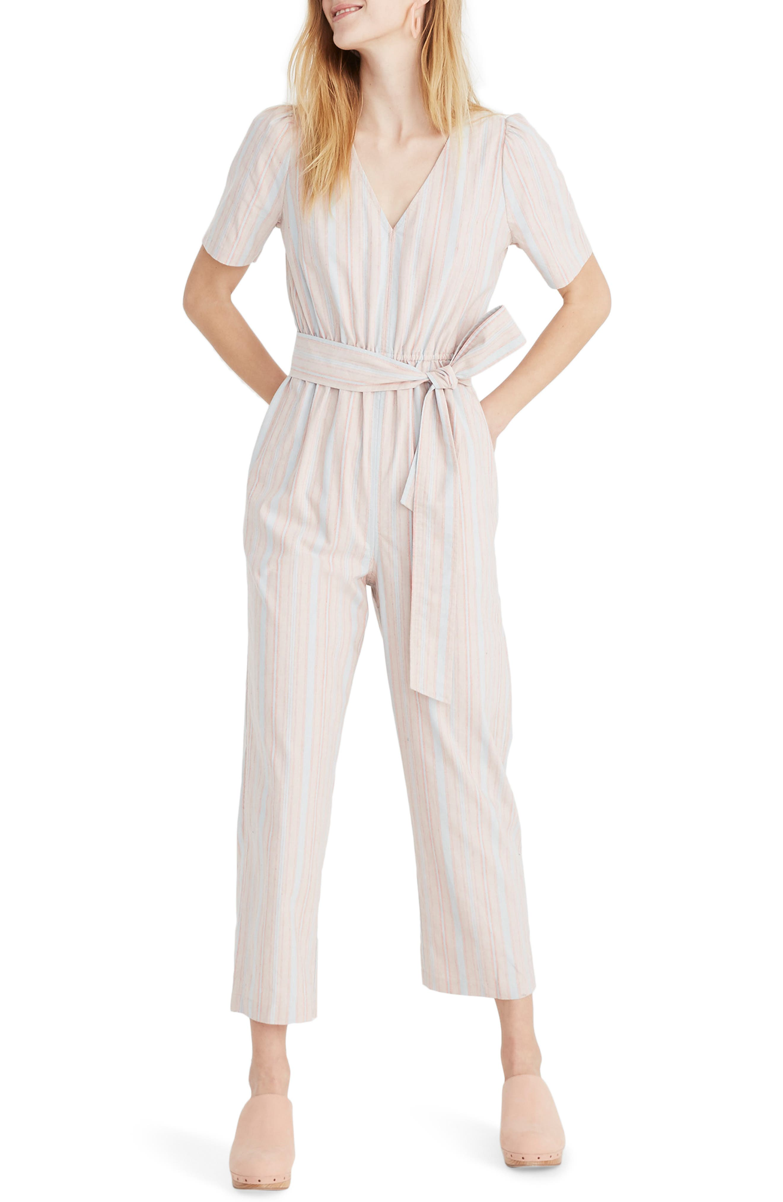 MADEWELL Puff Sleeve Tapered Jumpsuit, Main, color, 400