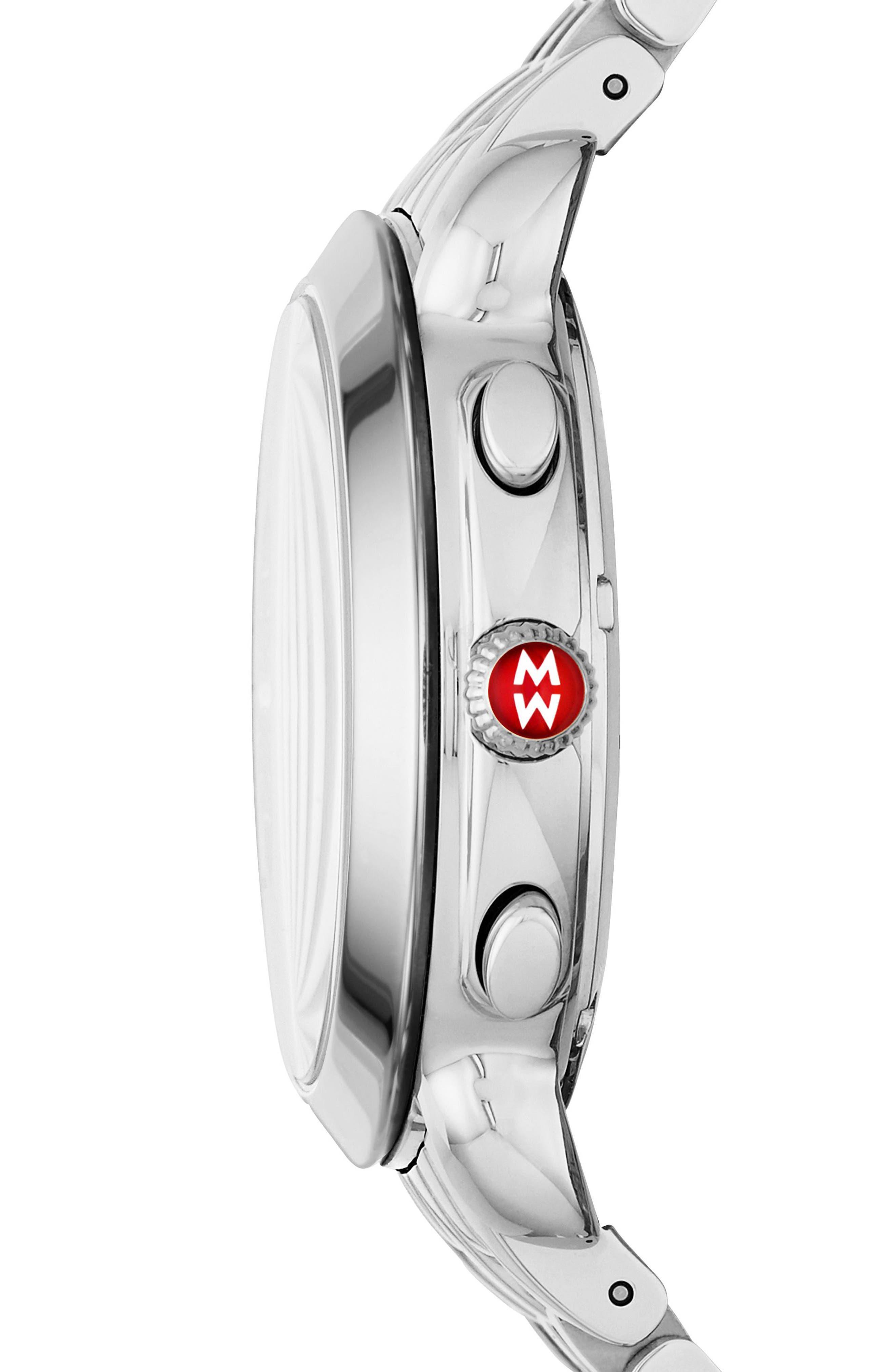 MICHELE, Sidney Chronograph Diamond Watch Head, 38mm, Alternate thumbnail 3, color, SILVER/ MOP