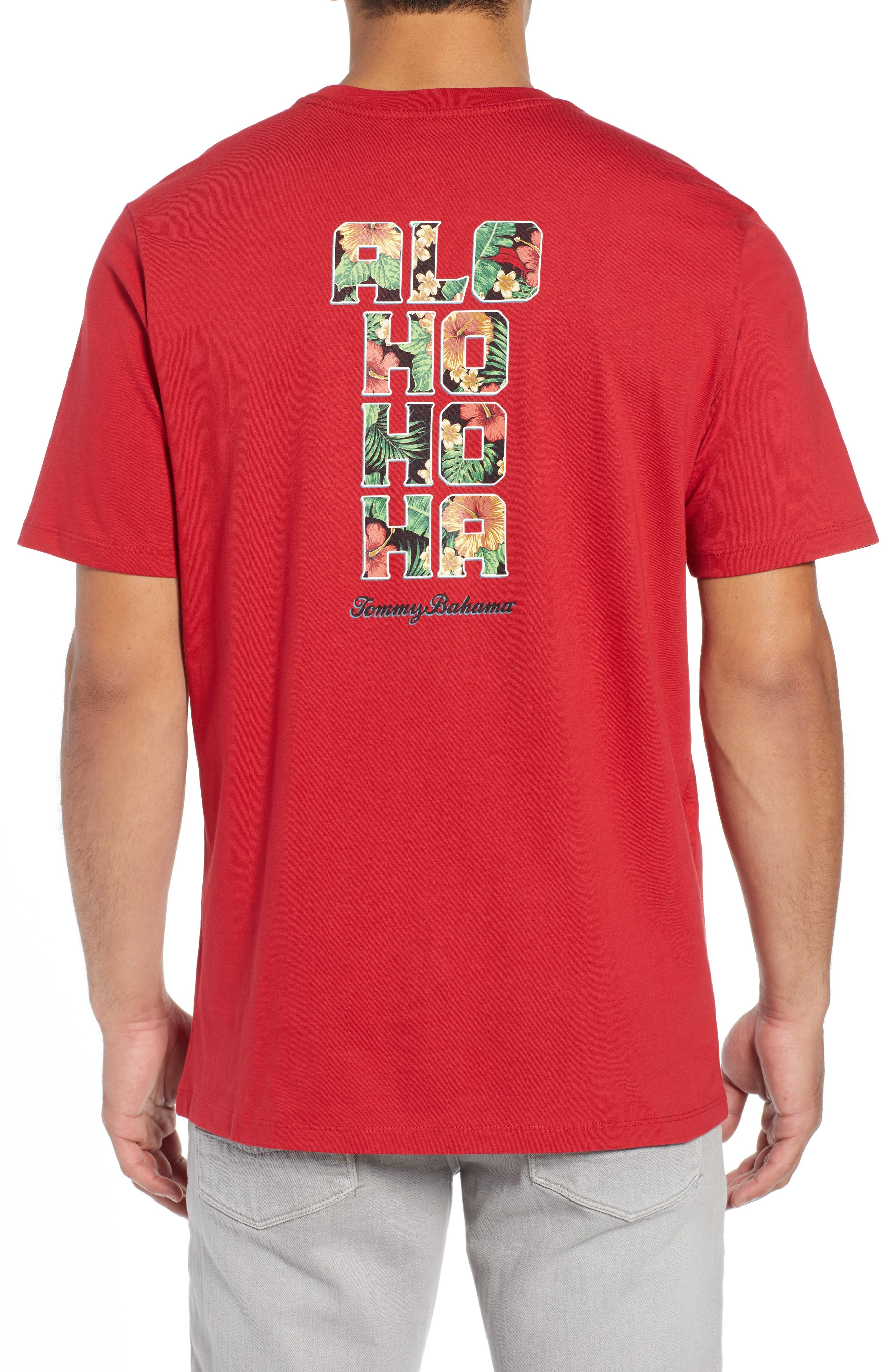 TOMMY BAHAMA, Alo-Ho Ho-Ha Graphic T-Shirt, Alternate thumbnail 2, color, SCOOTER RED