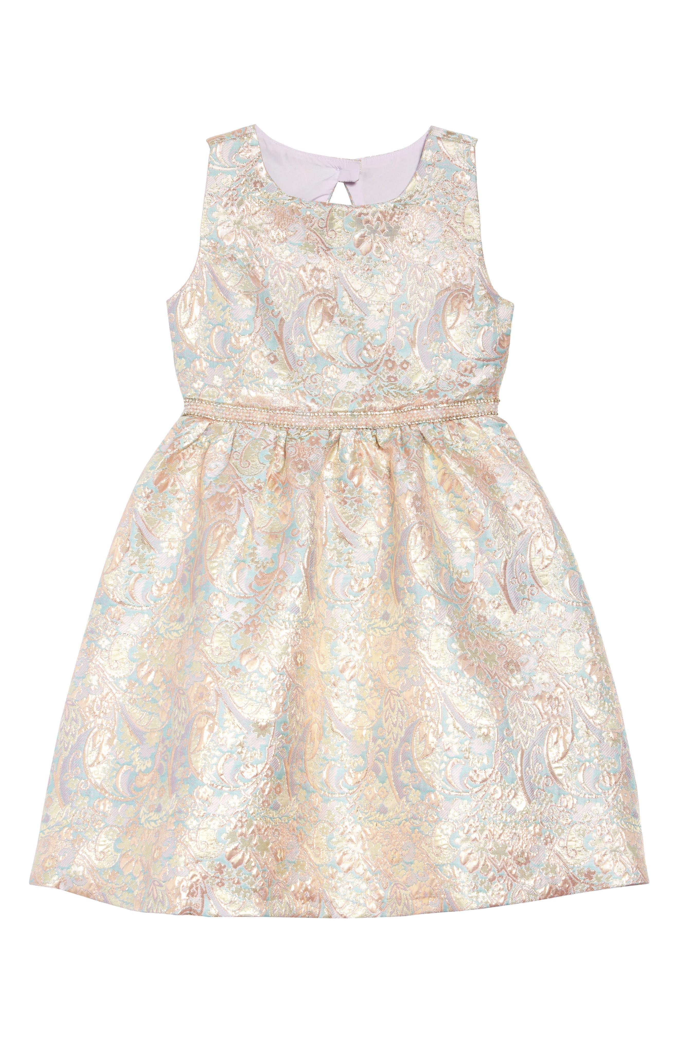 IRIS & IVY, Paisley Jacquard Bow Back Dress, Main thumbnail 1, color, BLUSH
