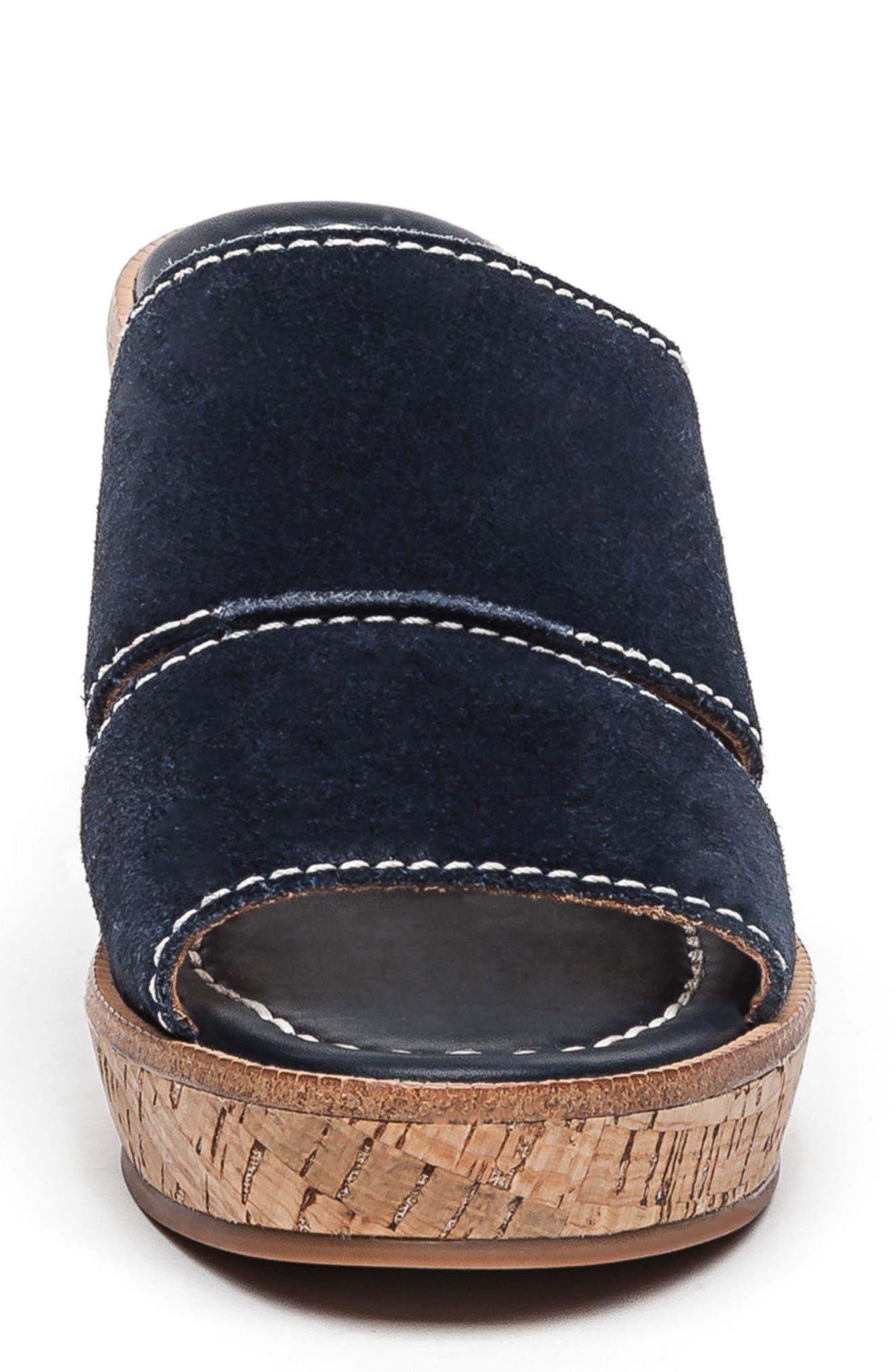 BERNARDO, Kami Platform Wedge Slide Sandal, Alternate thumbnail 4, color, NAVY SUEDE