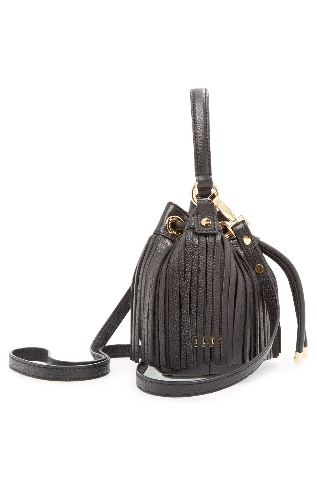 MILLY, 'Small Essex' Fringed Leather Bucket Bag, Alternate thumbnail 6, color, 001