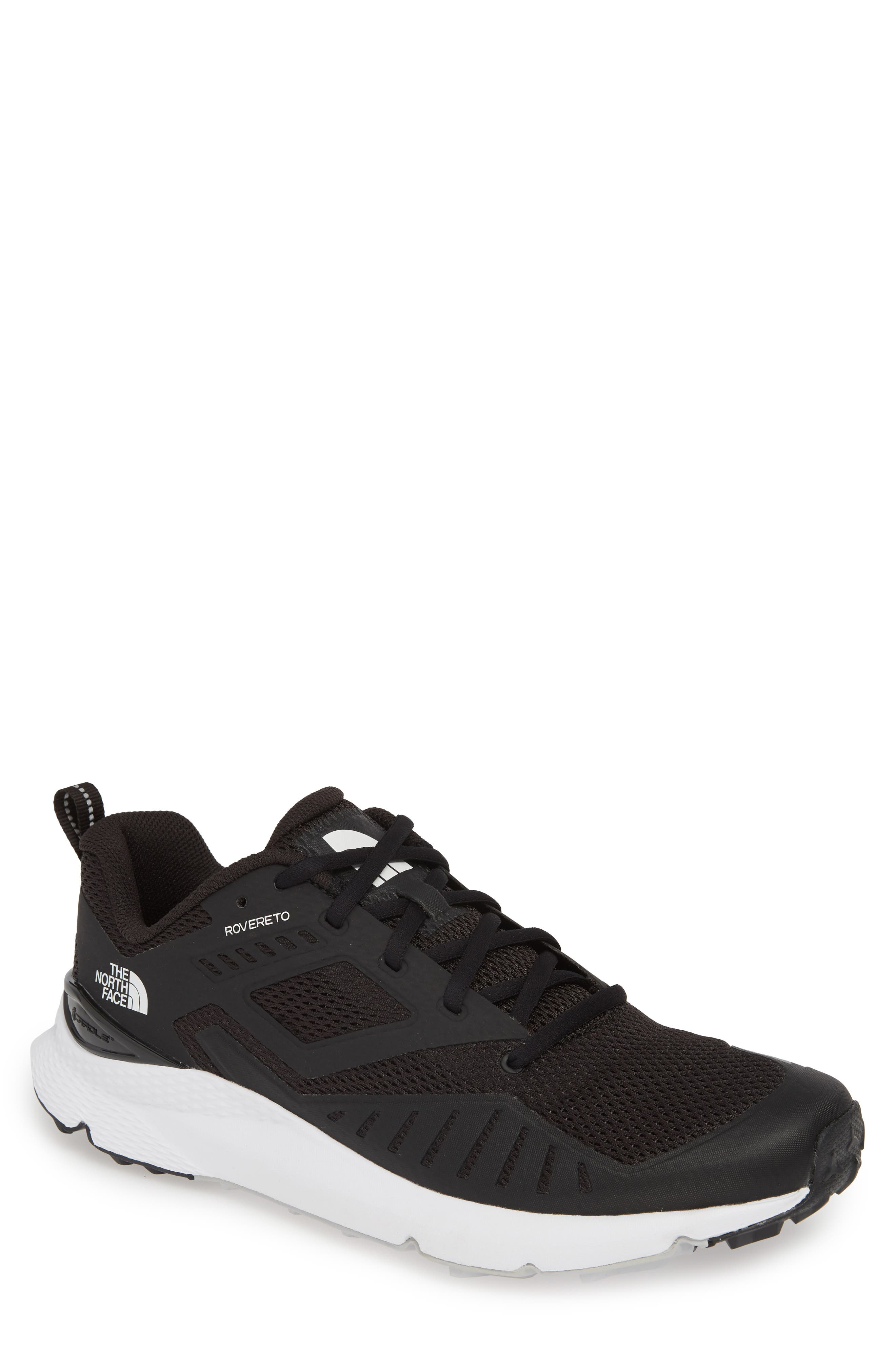 THE NORTH FACE Rovereto Running Shoe, Main, color, BLACK/ WHITE