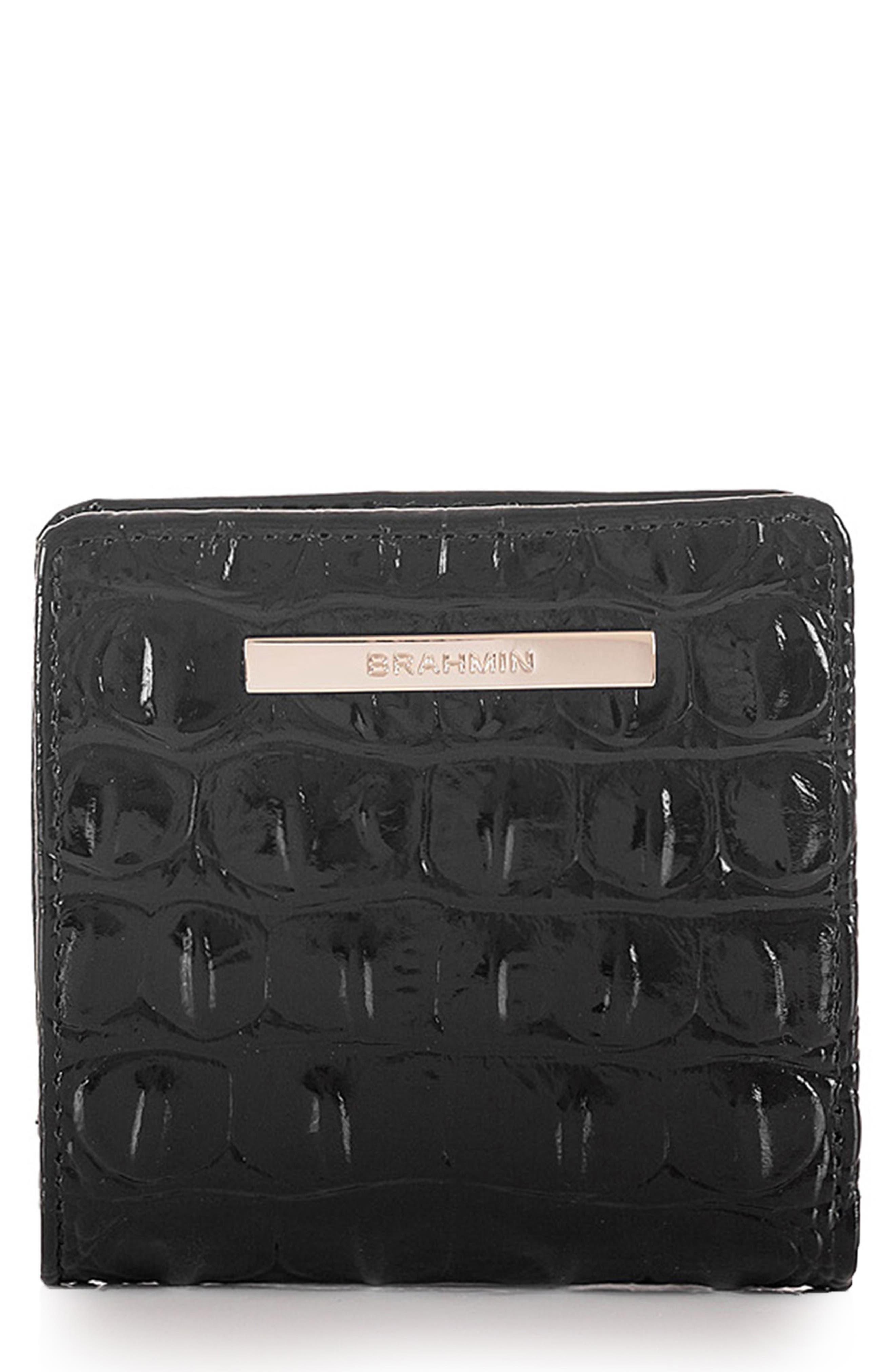BRAHMIN, Jane Croc Embossed Leather Wallet, Main thumbnail 1, color, BLACK MELBOURNE