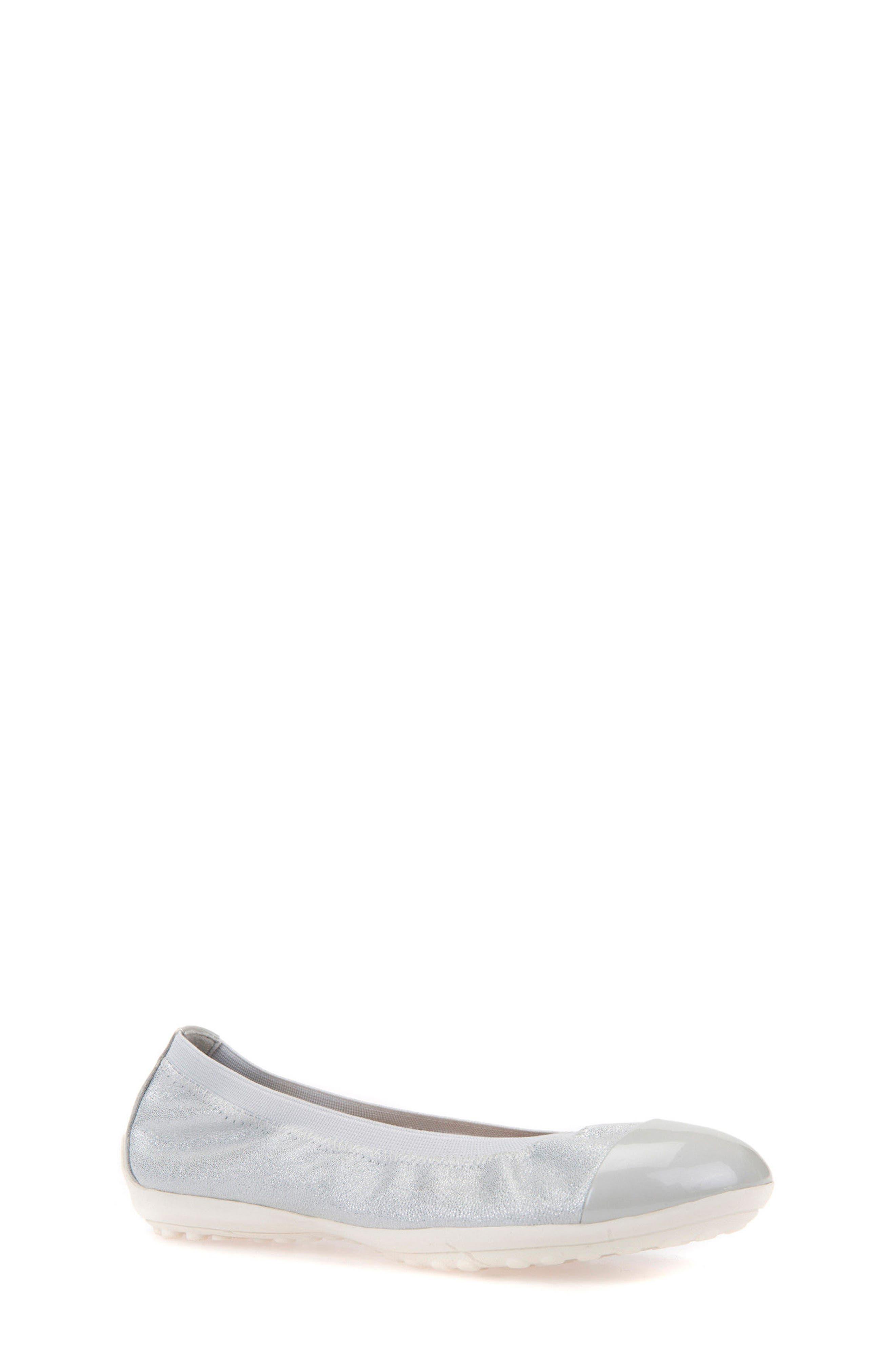 GEOX Piuma Cap Toe Glitter Ballerina Flat, Main, color, PEARL