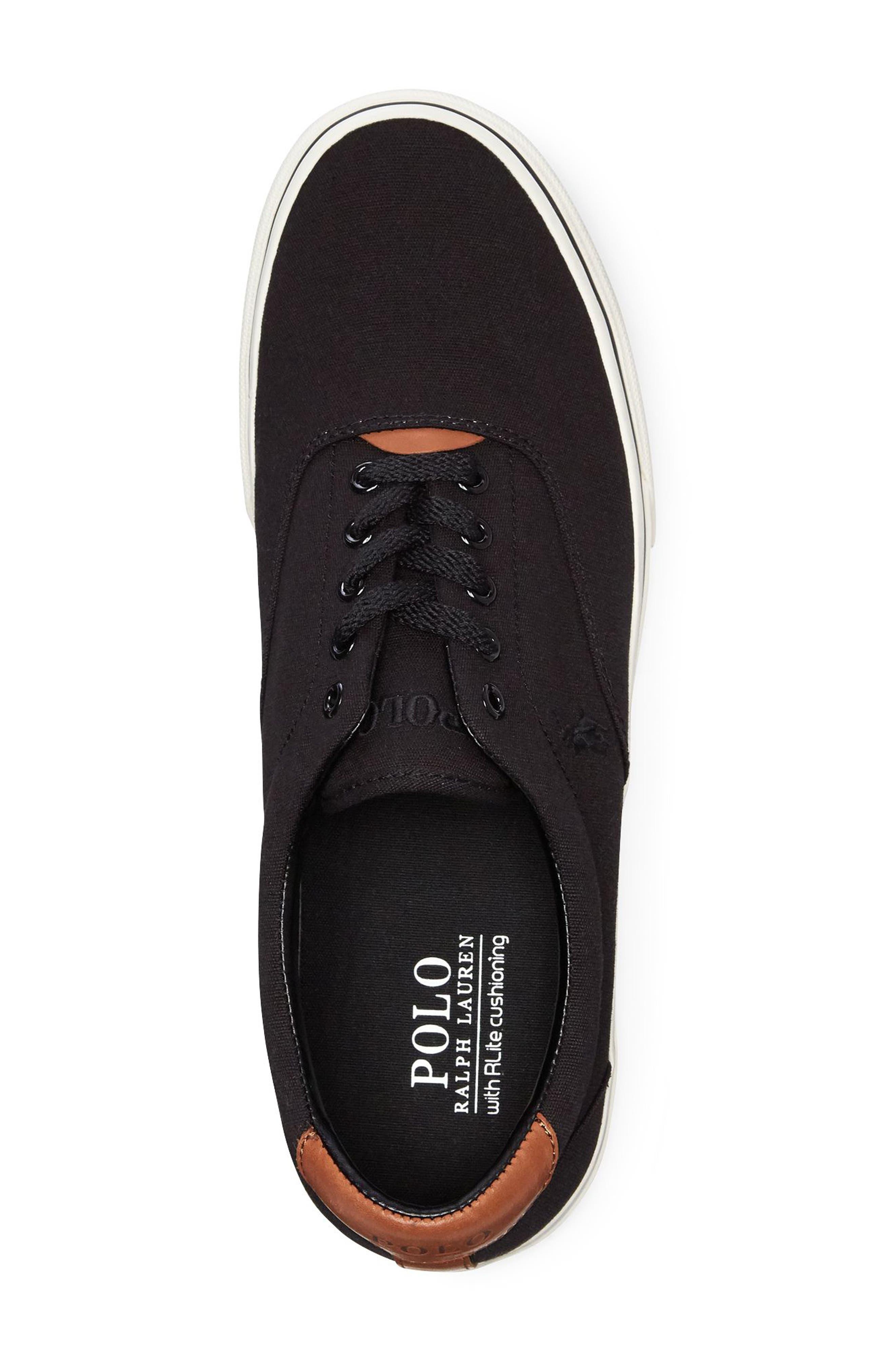 POLO RALPH LAUREN, Thorton Low Top Sneaker, Alternate thumbnail 3, color, BLACK CANVAS