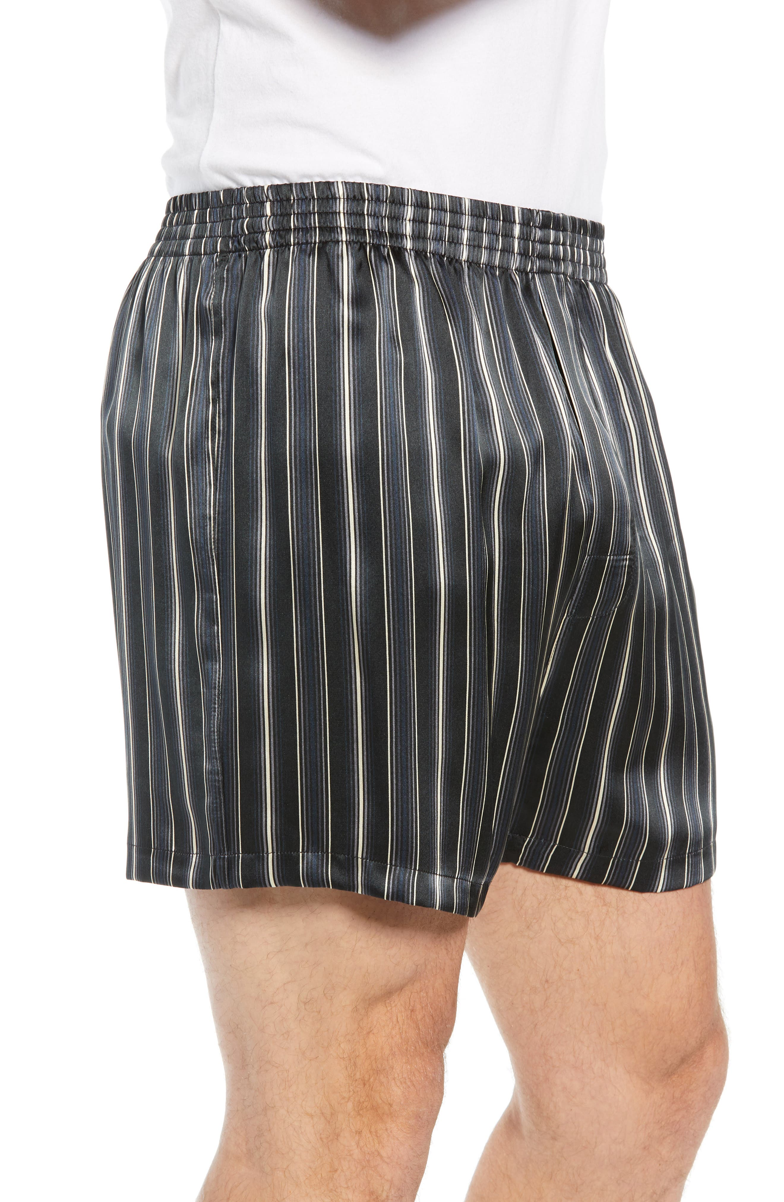 MAJESTIC INTERNATIONAL, Fresh Ink Stripe Silk Boxers, Alternate thumbnail 3, color, FOG