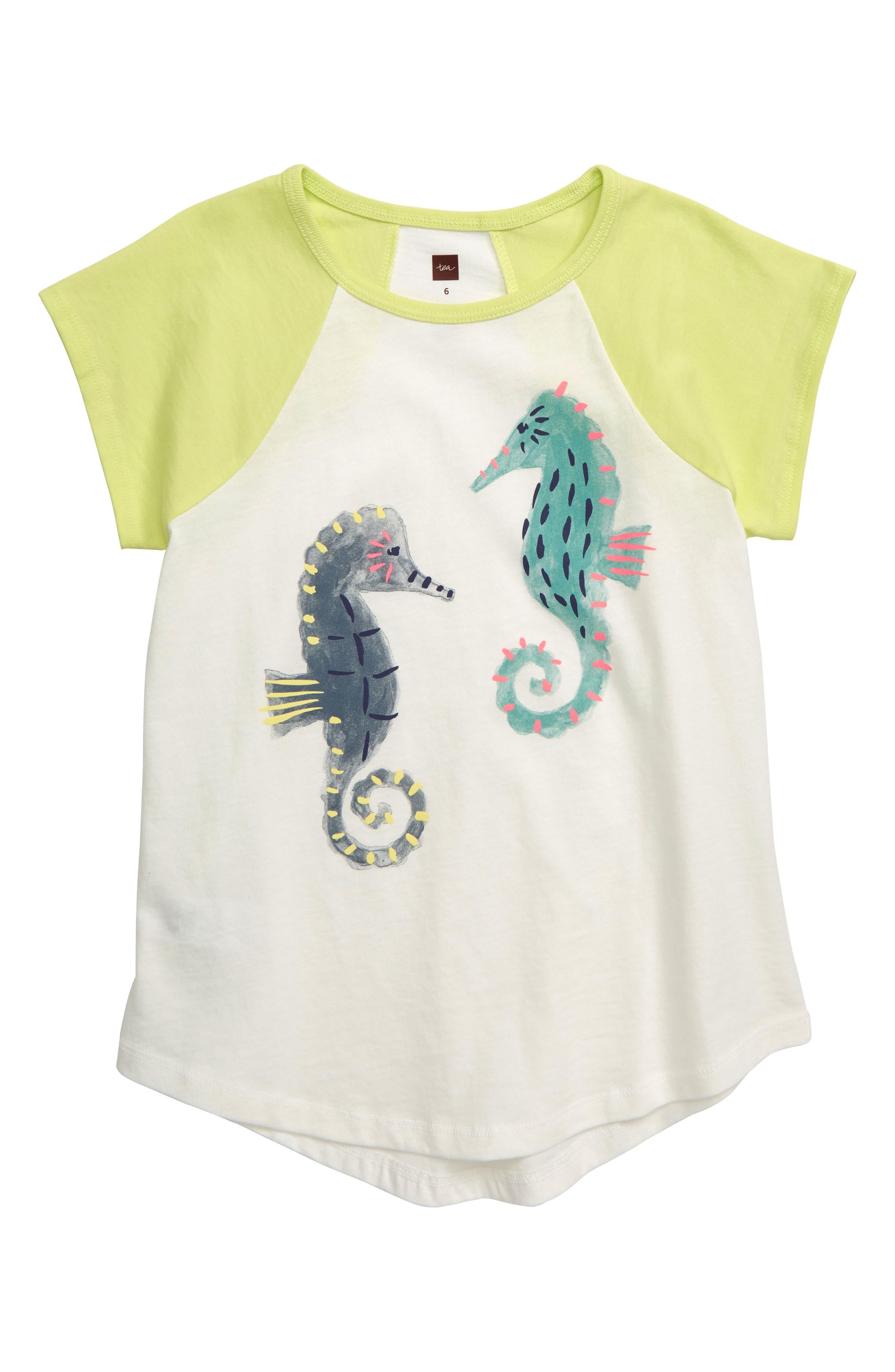 Girls Tea Collection Seahorse Raglan Tunic Size 6  White