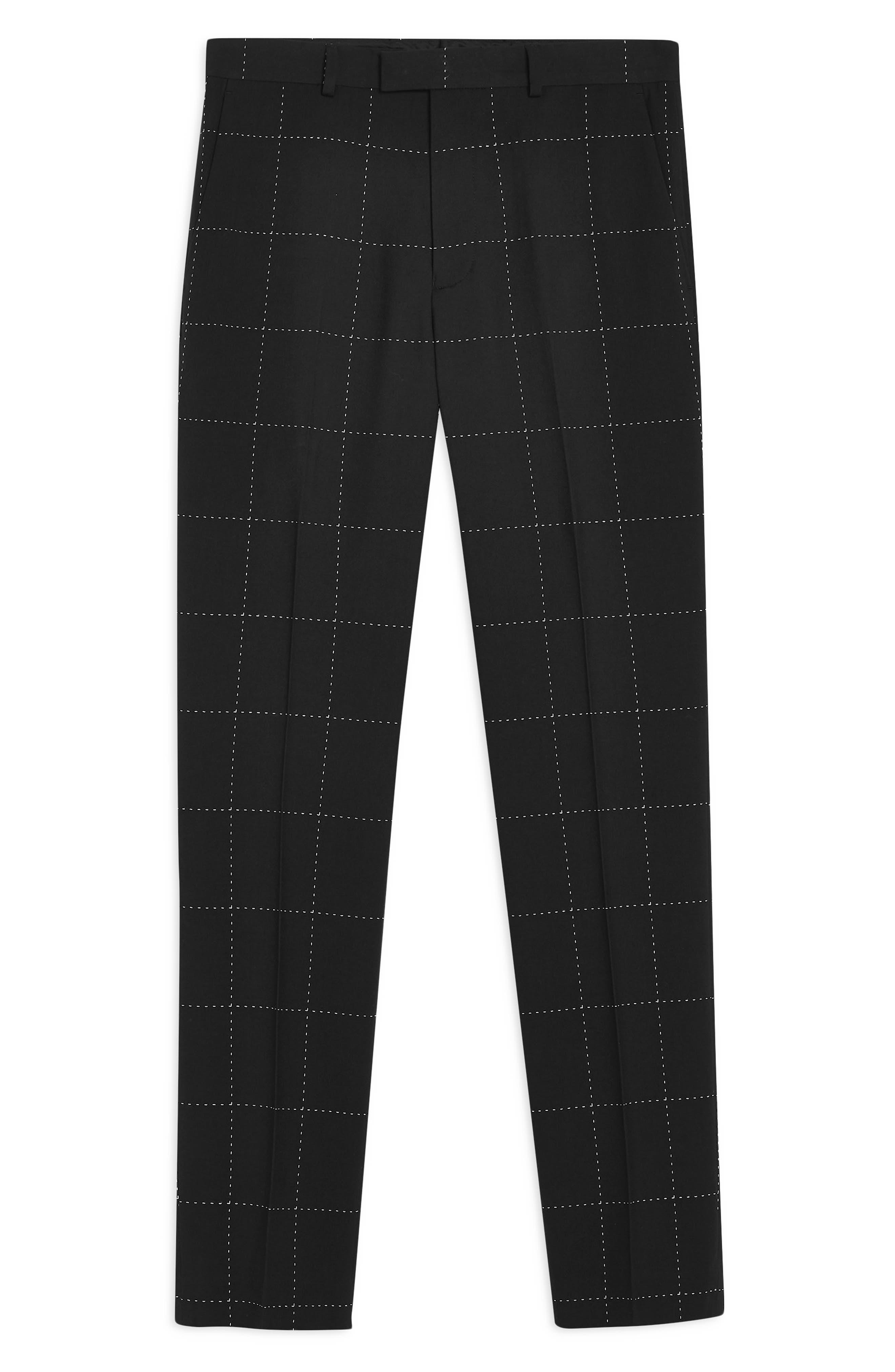 TOPMAN, Slim Fit Topstitched Suit Trousers, Alternate thumbnail 4, color, BLACK MULTI